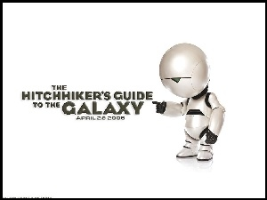 Hitchhikers Guide To The Galaxy, tło, napis, robot