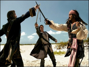 piraci, piraci_z_karaibow_2, Johnny Depp, Orlando Bloom, szabla