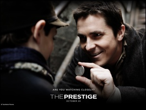 The Prestige, chłopiec, Christian Bale, moneta