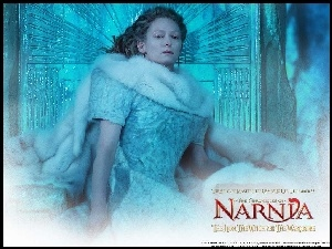 brzydka, The Chronicles Of Narnia, siedzi, Tilda Swinton, futro