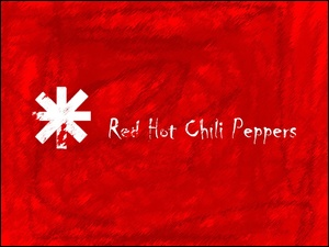 czerwone tło, Red Hot Chili Peppers, znaczek