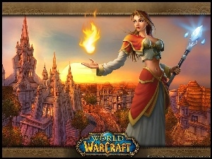 World Of Warcraft, ogie�, kobieta, fantasy
