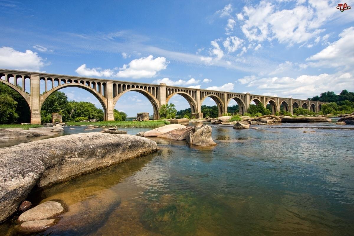 Most, Niebo, Duża, Chmury, Rzeka, Kamienie