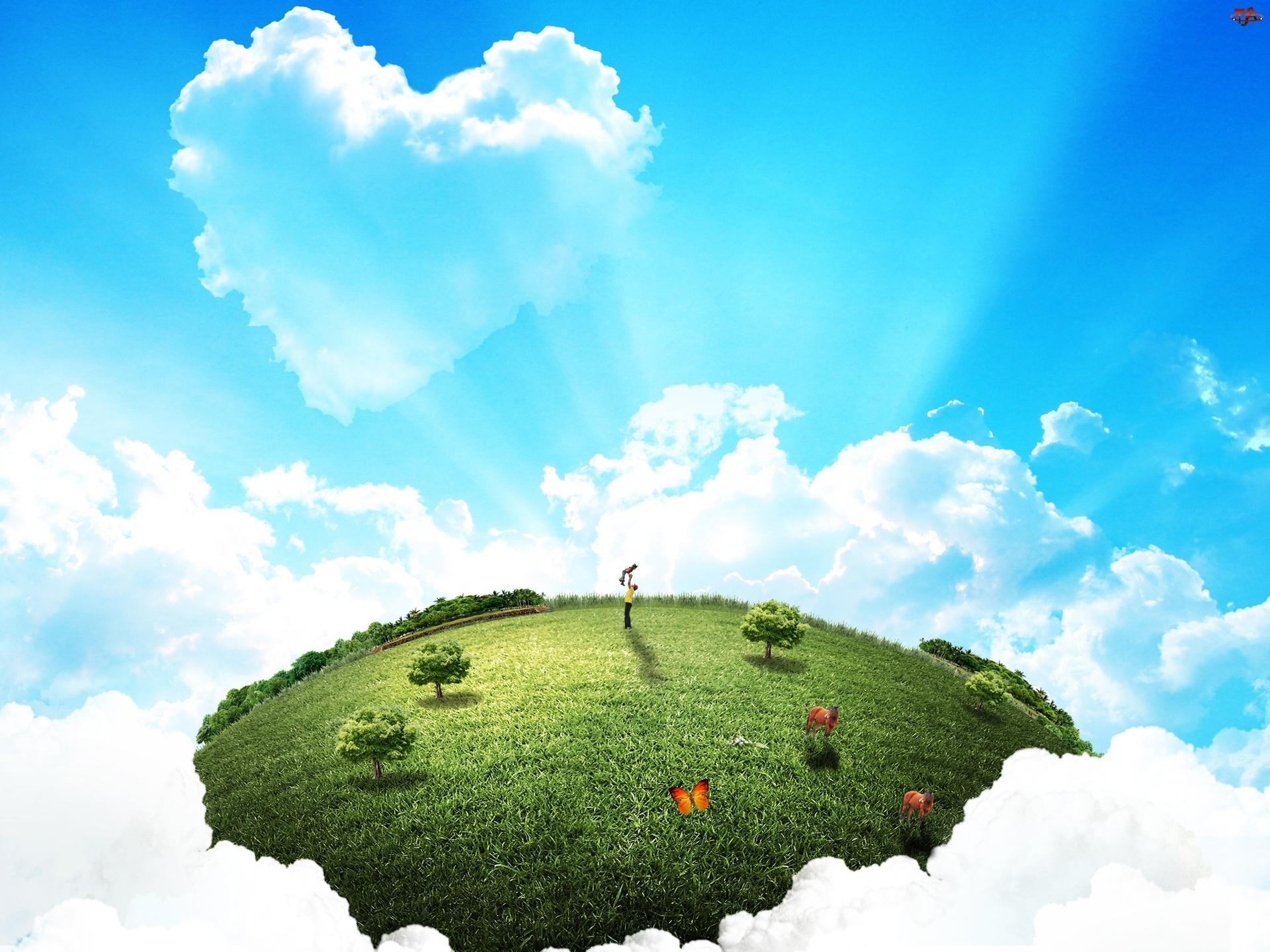 Łąka, Motyle, Niebo, Ludzie, Chmury, Drzewa