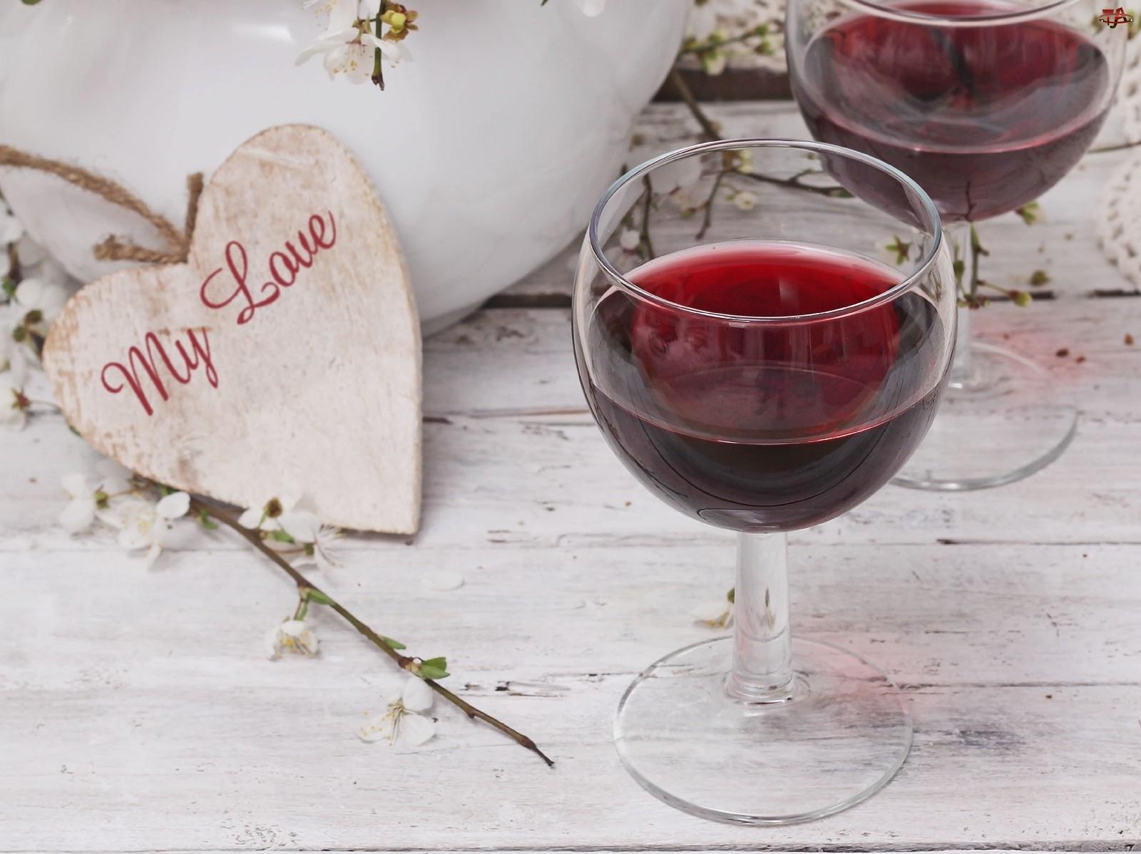 Miłość, Kieliszki, Serduszka, Wino, Walentynki