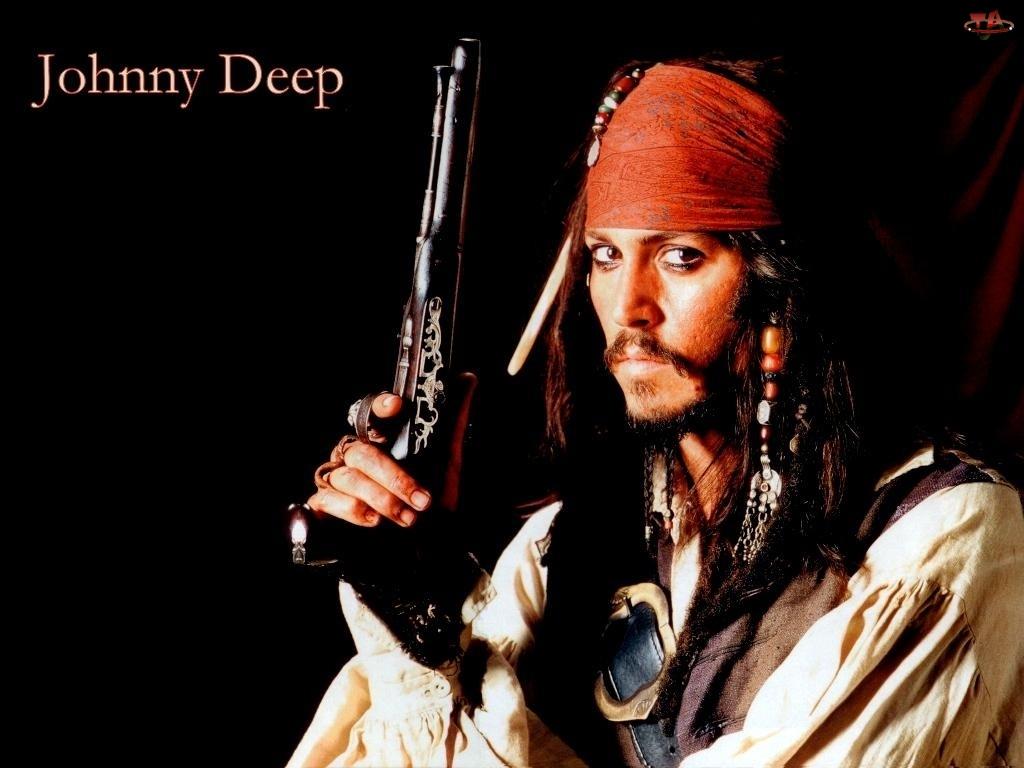 kapitan, pistolet, Piraci Z Karaibów, Johnny Depp