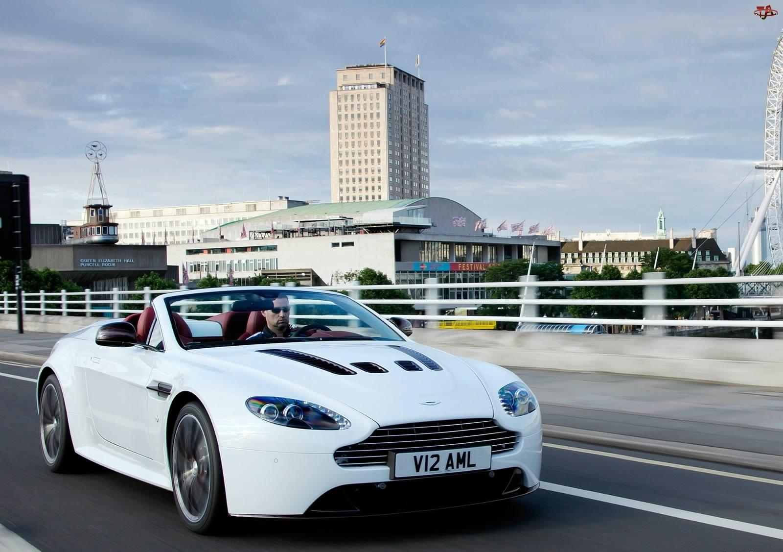 Biały, V12, Aston Martin, Vantage