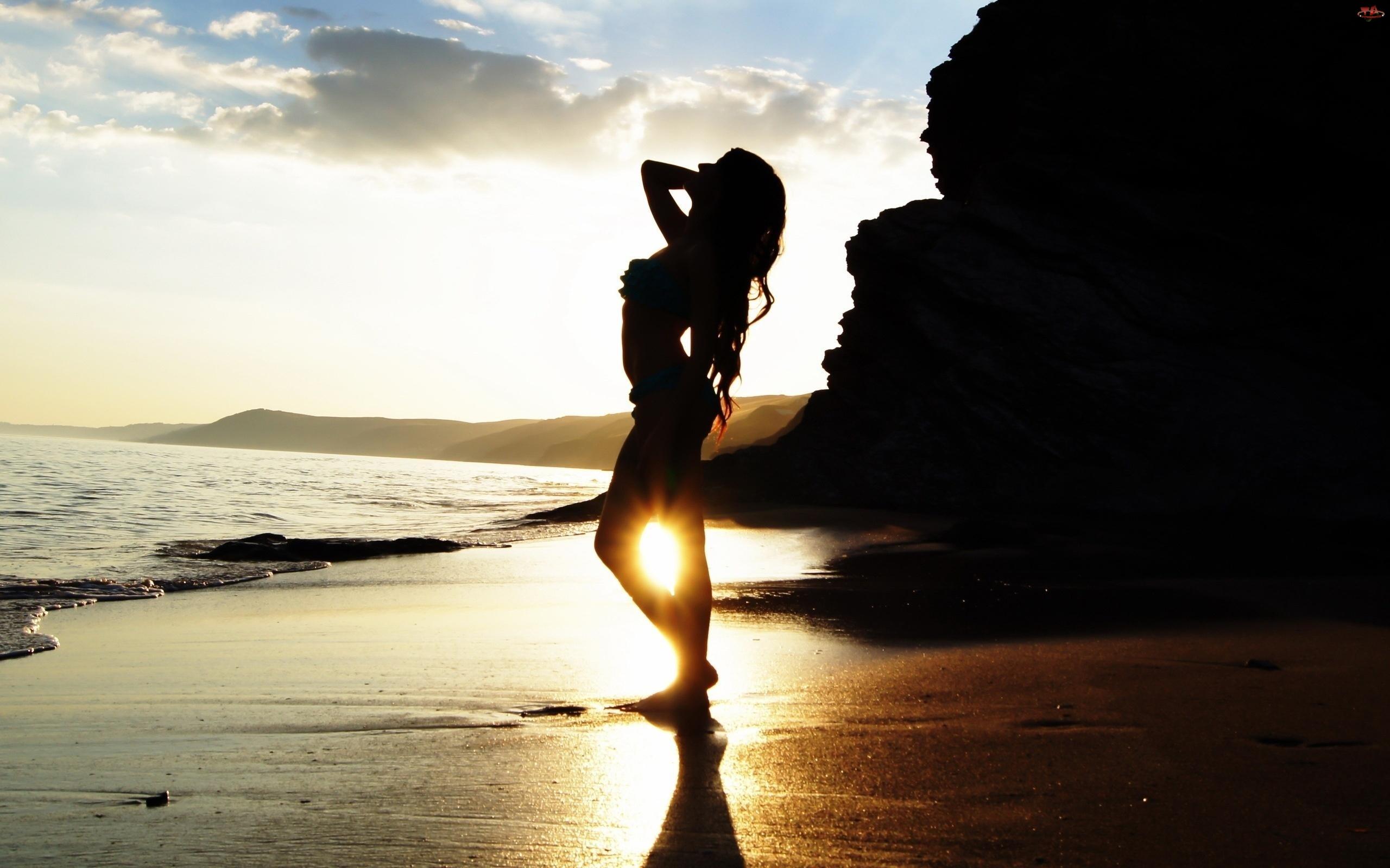 Góra, Zachód Słońca, Piasek, Kobieta, Morze