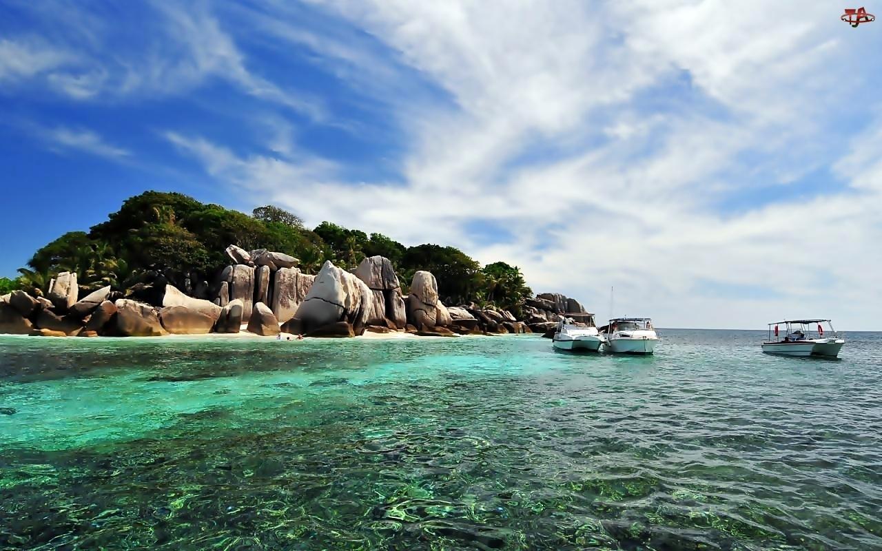 Jachty, Komory, Wyspa, Morze, Skały