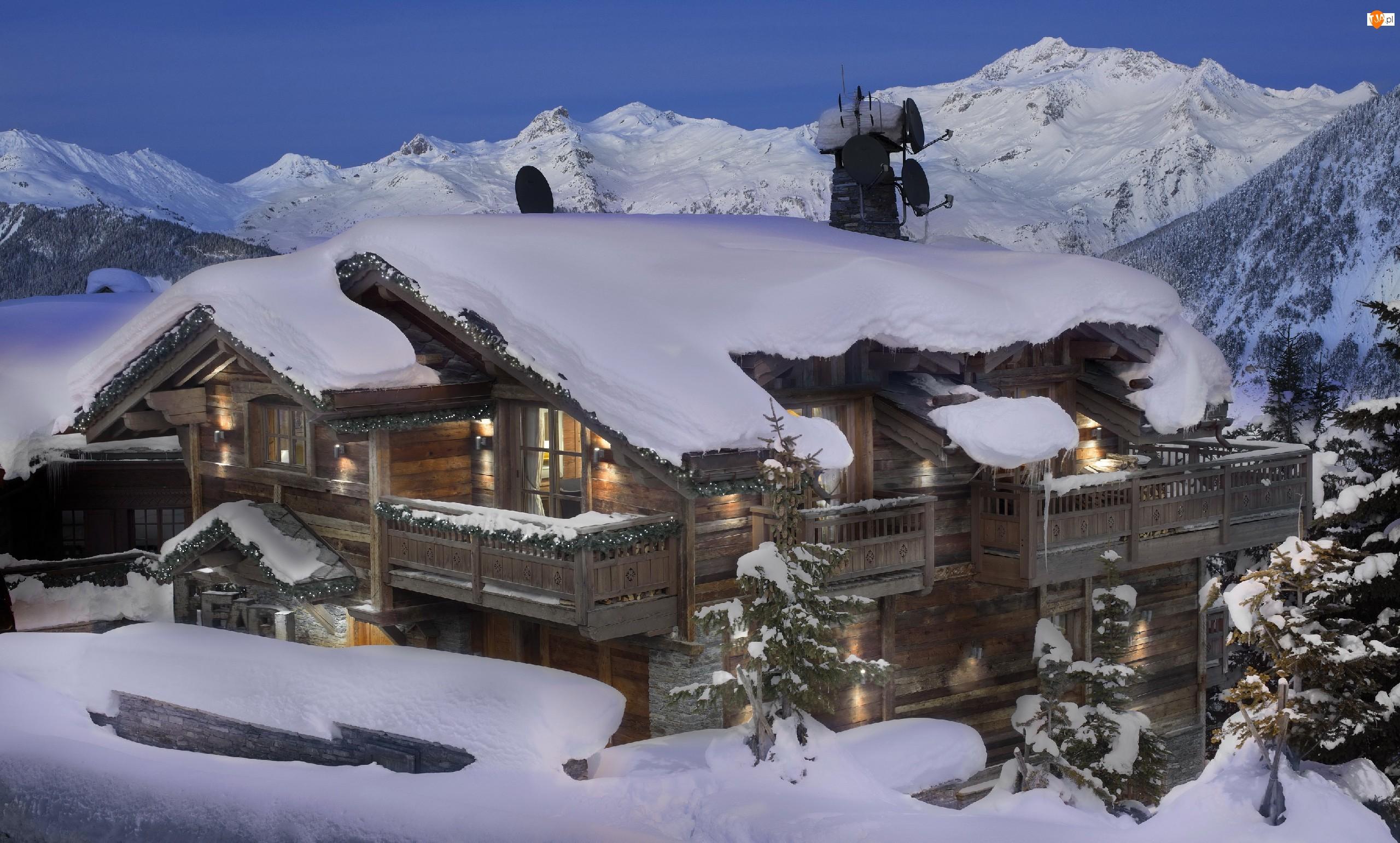 Dom, Śnieg, Góry, Drzewa