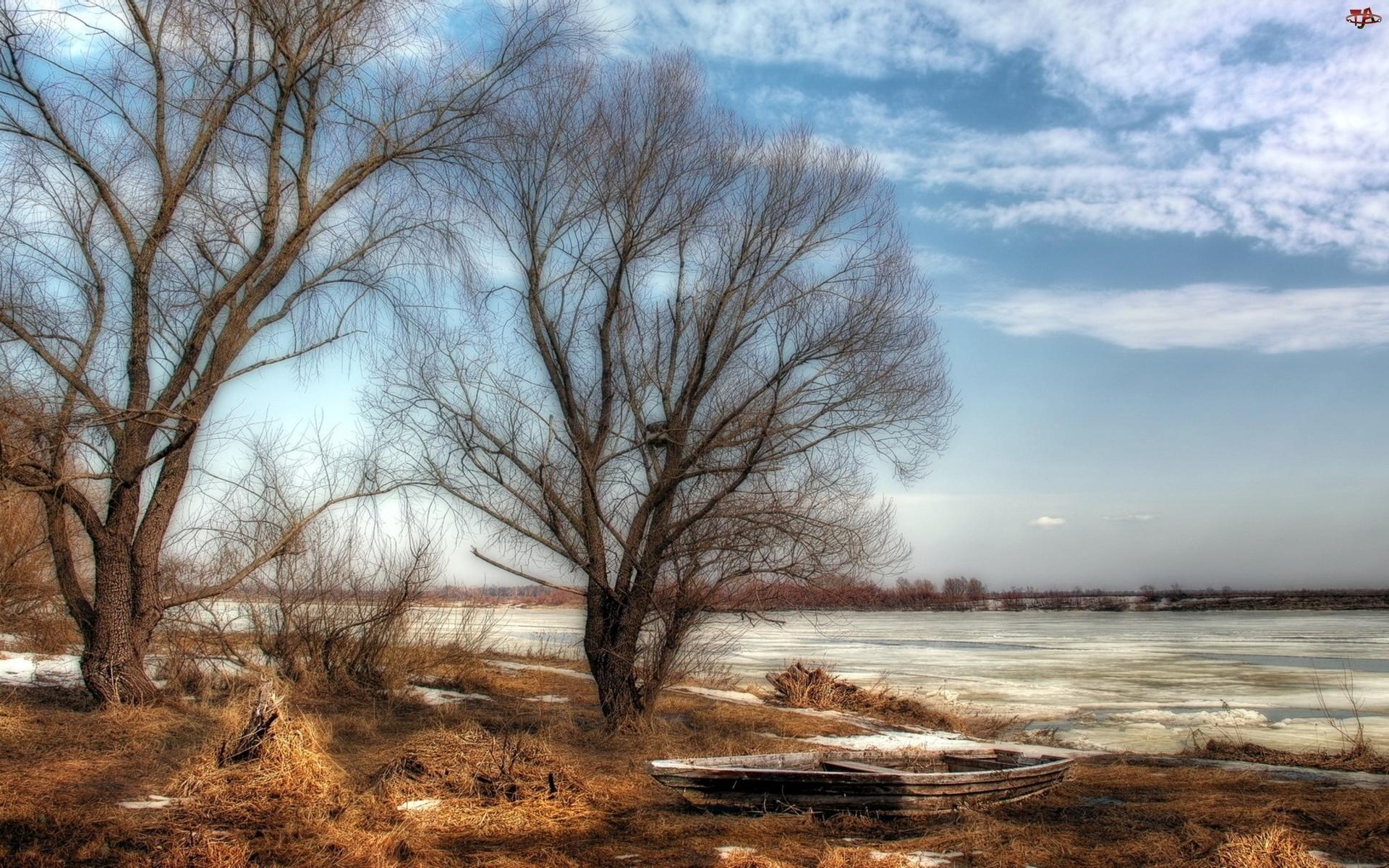 Chmury, Rzeka, Zima, Drzewa, Łódź