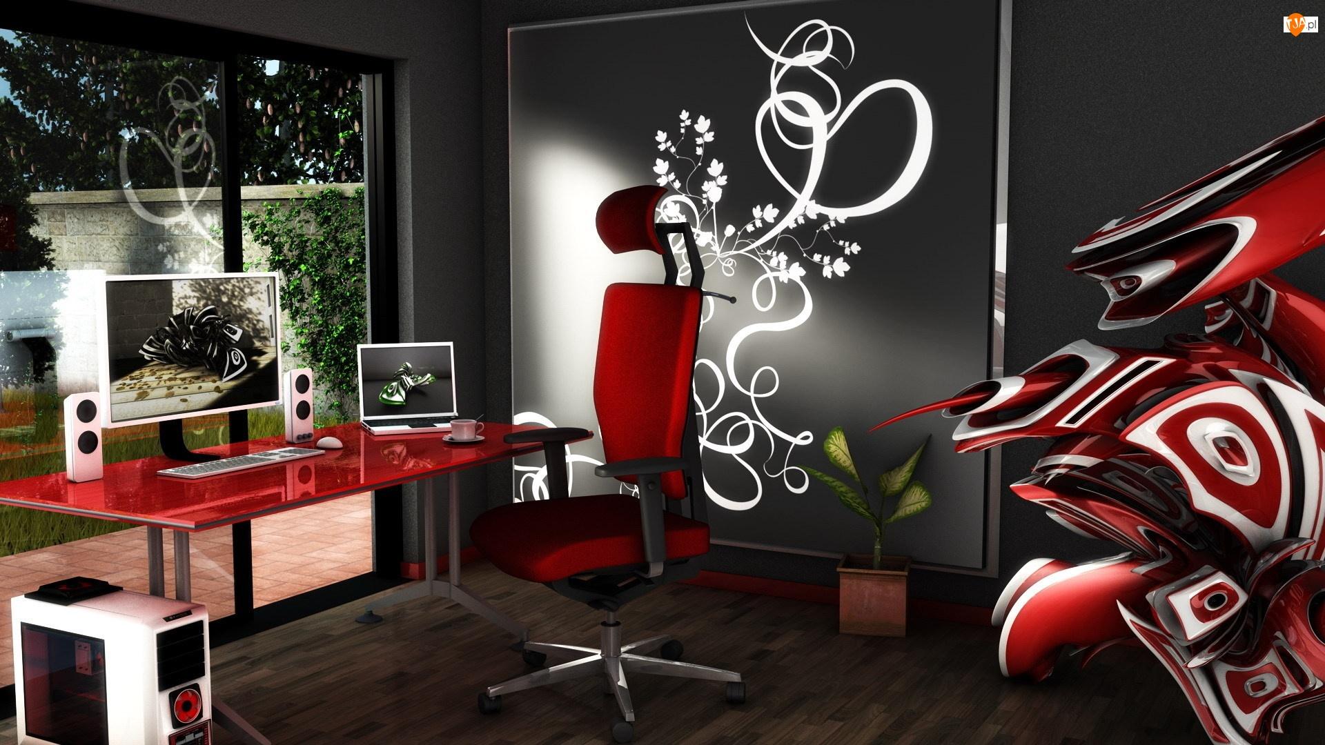 1366x768 интерьер, компьютер, стол, стул, стиль, ноутбук кар.