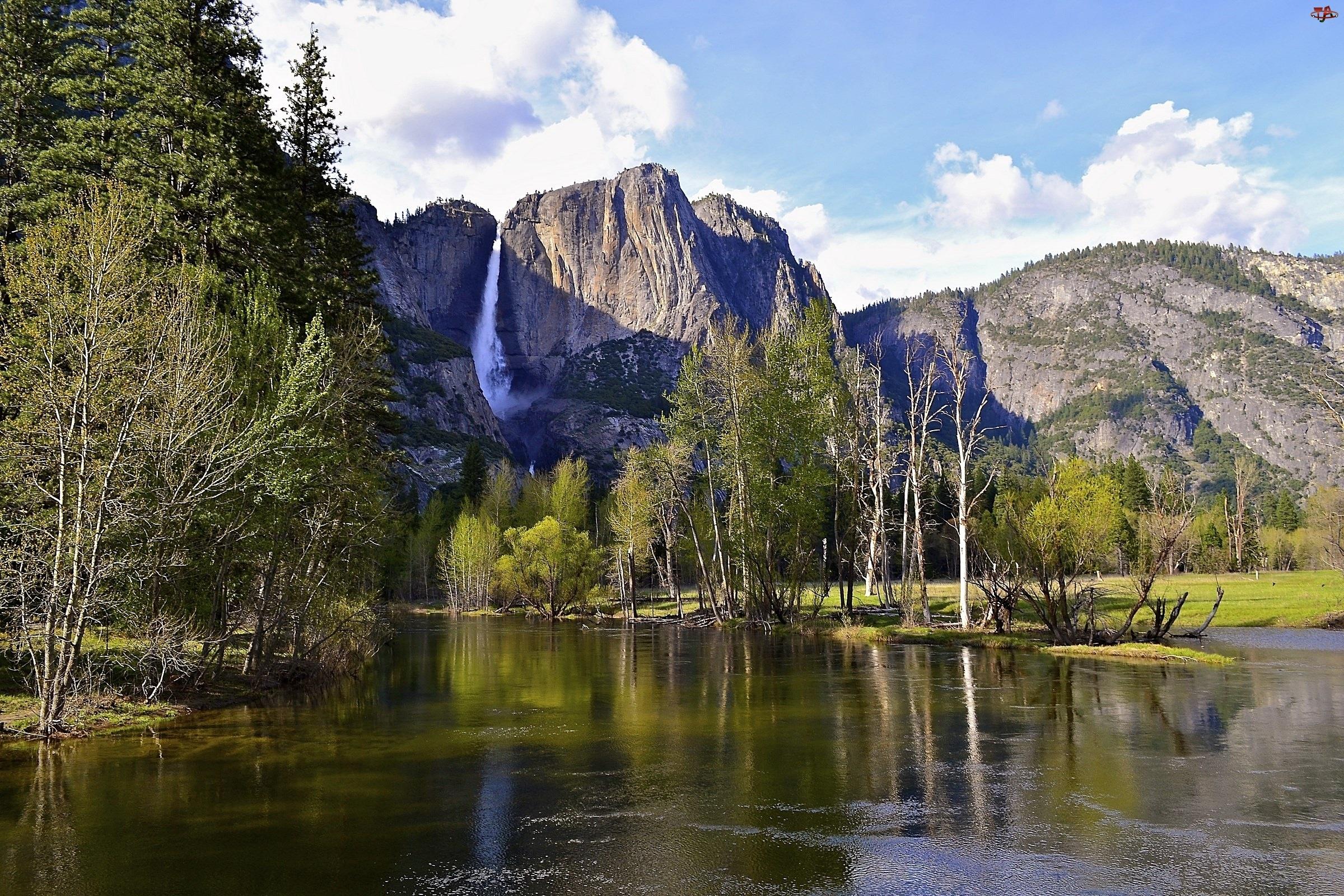 USA, Góry, Las, Rzeka, Park Narodowy Yosemite