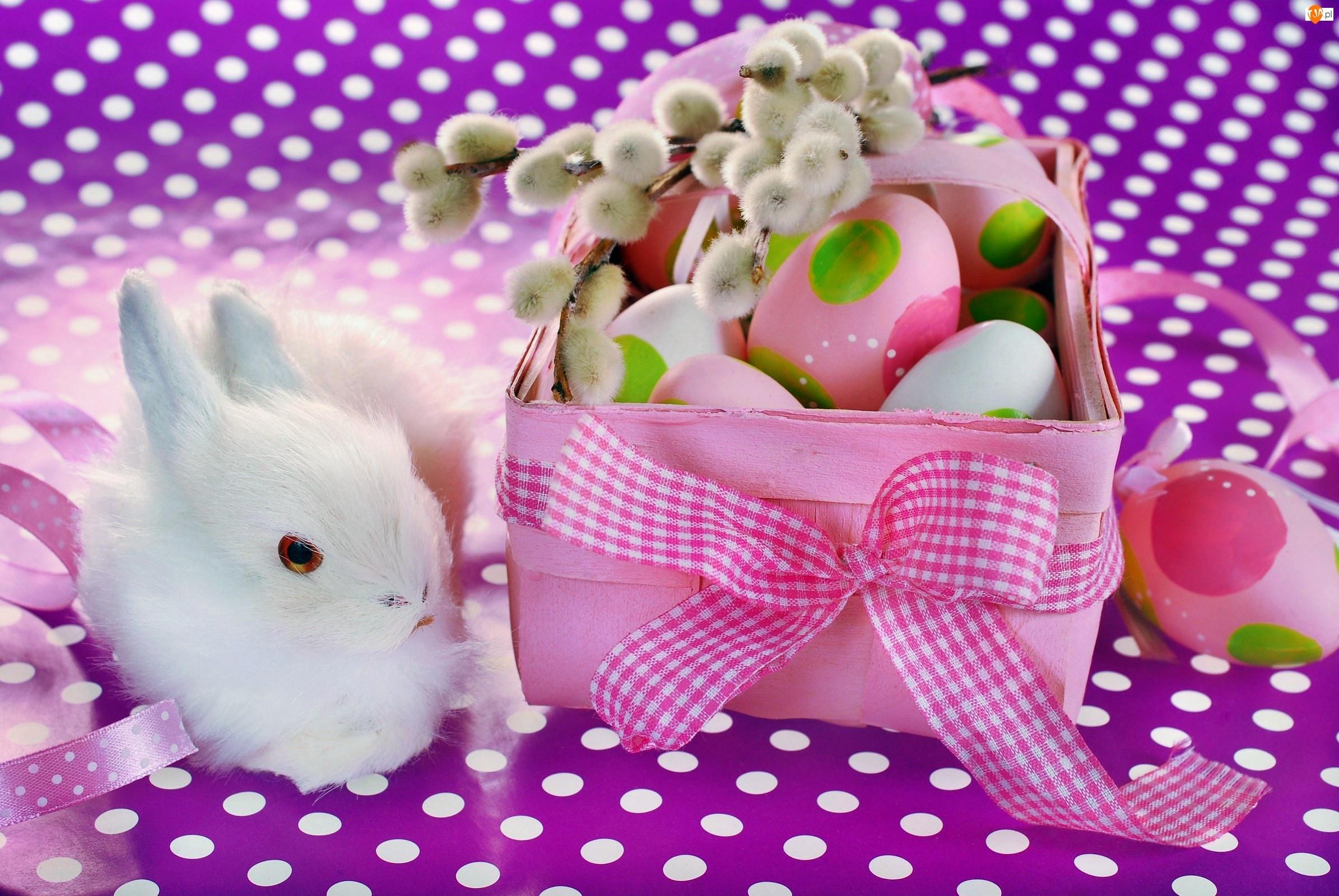 Biały, Wielkanoc, Królik, Pisanki