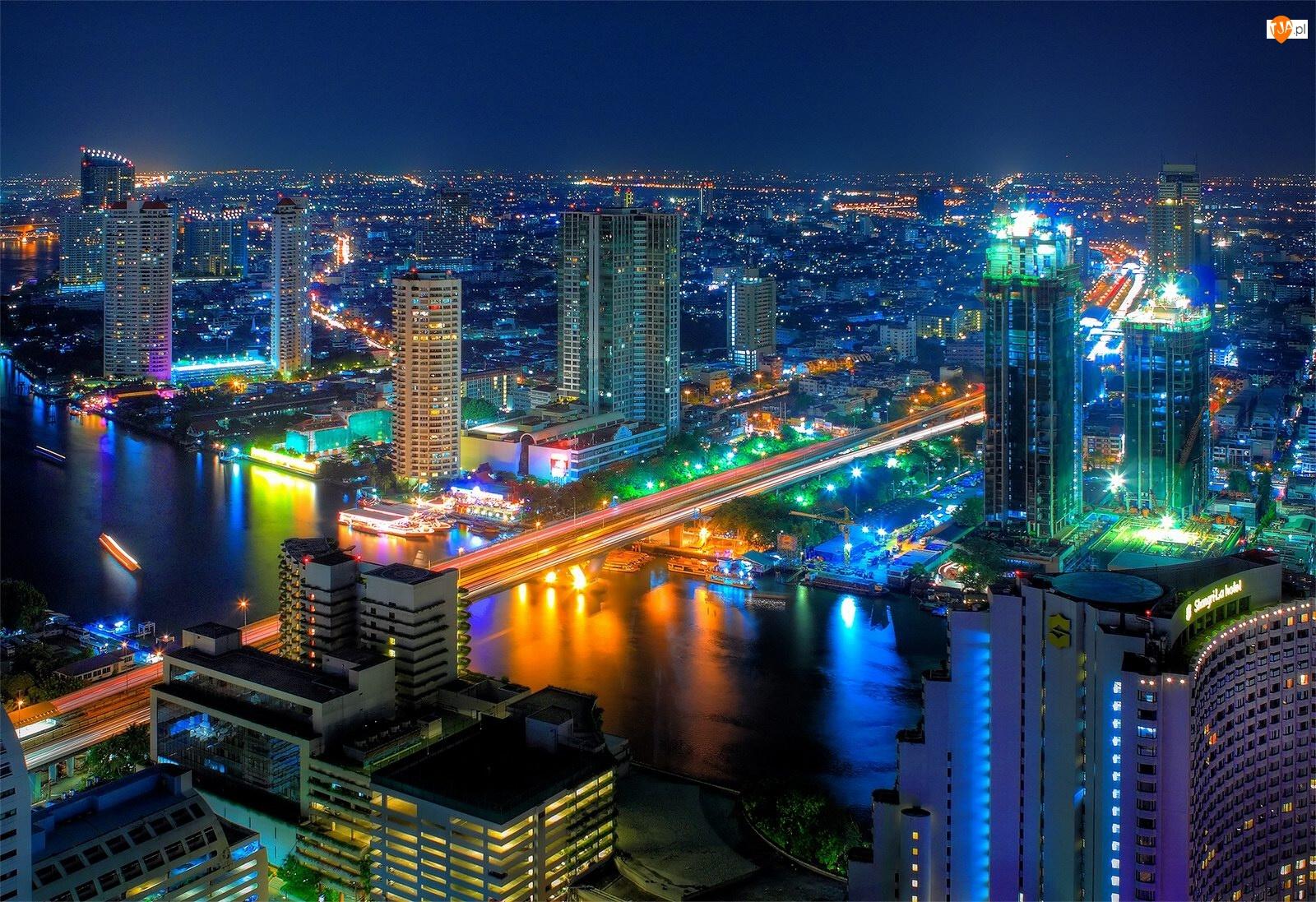 Most, Bangkok, Nocą, Miasto, Rzeka