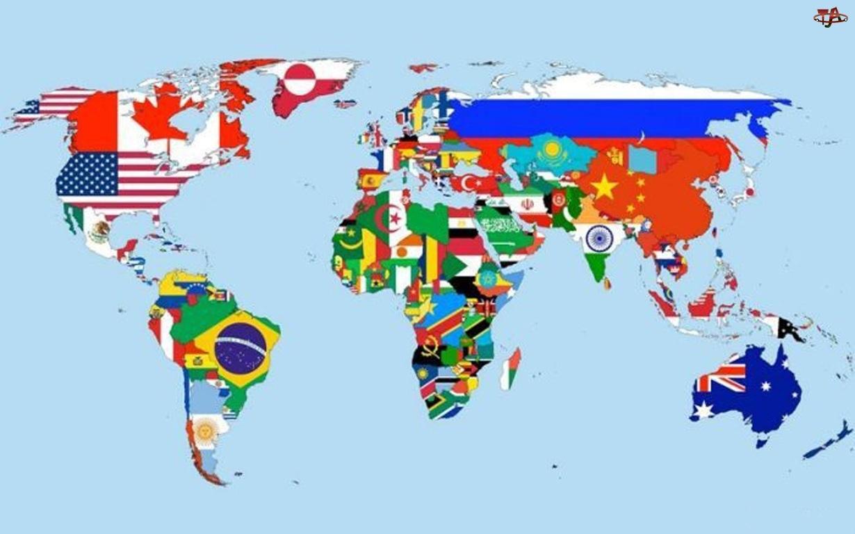 Kontynenty, Flagi, Państw