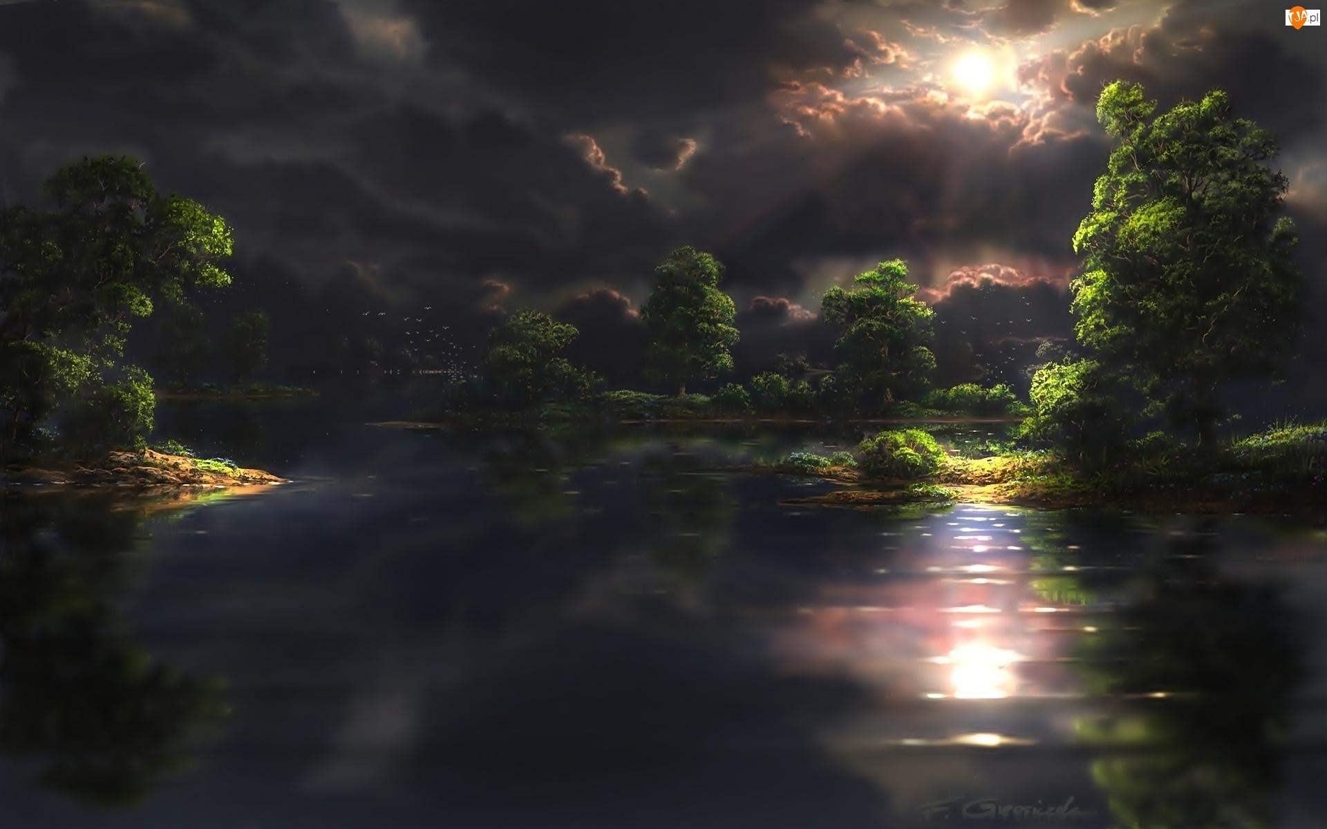Jezioro, Noc, Las, Chmury