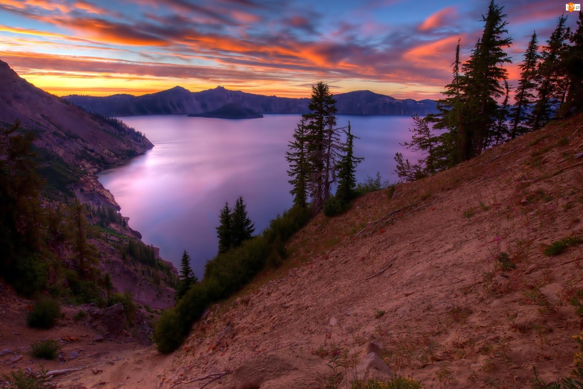 Góry, Drzewa, Jezioro, Świt