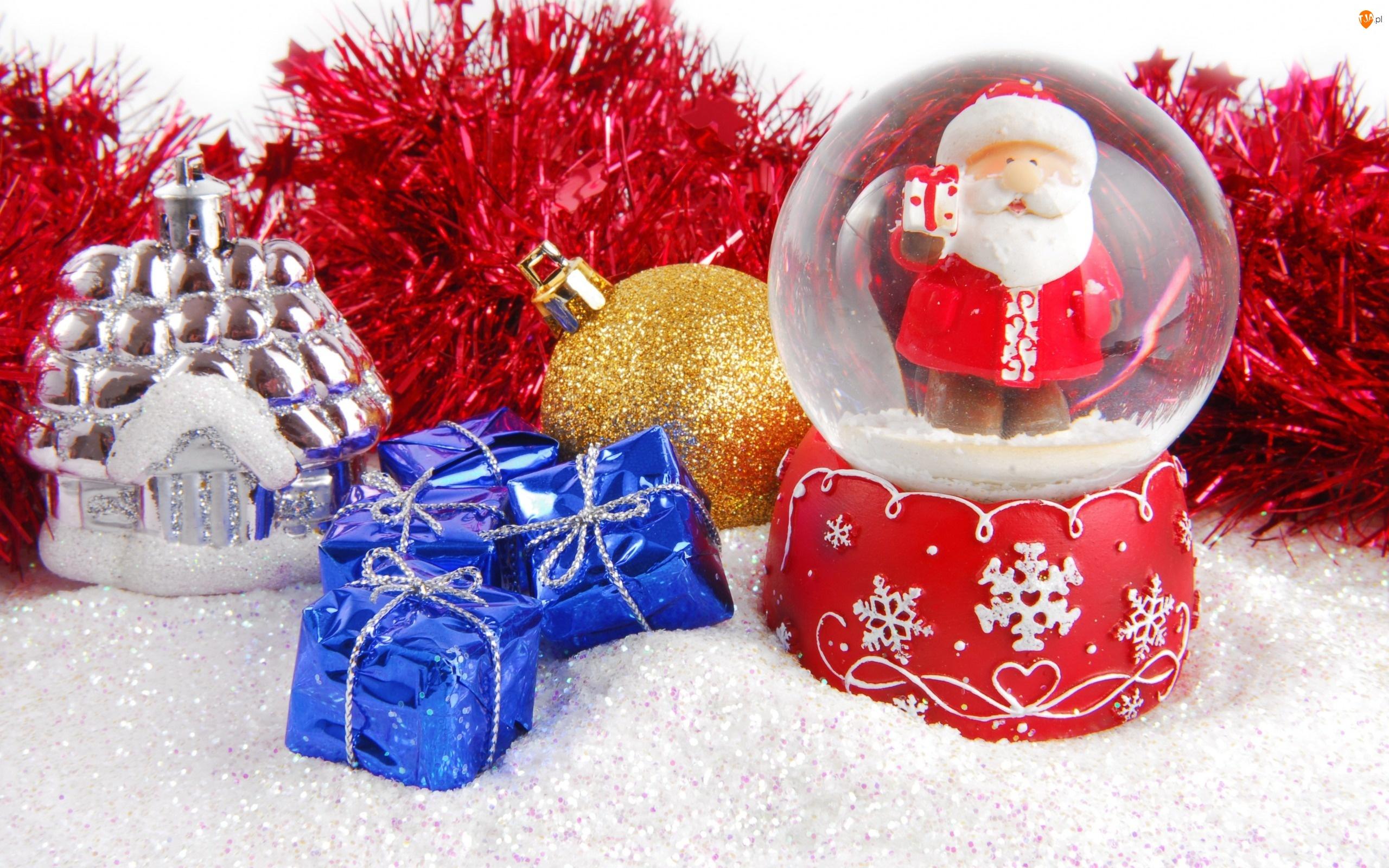 Świąteczne, Bombki, Kula, Śnieżna, Mikołaj