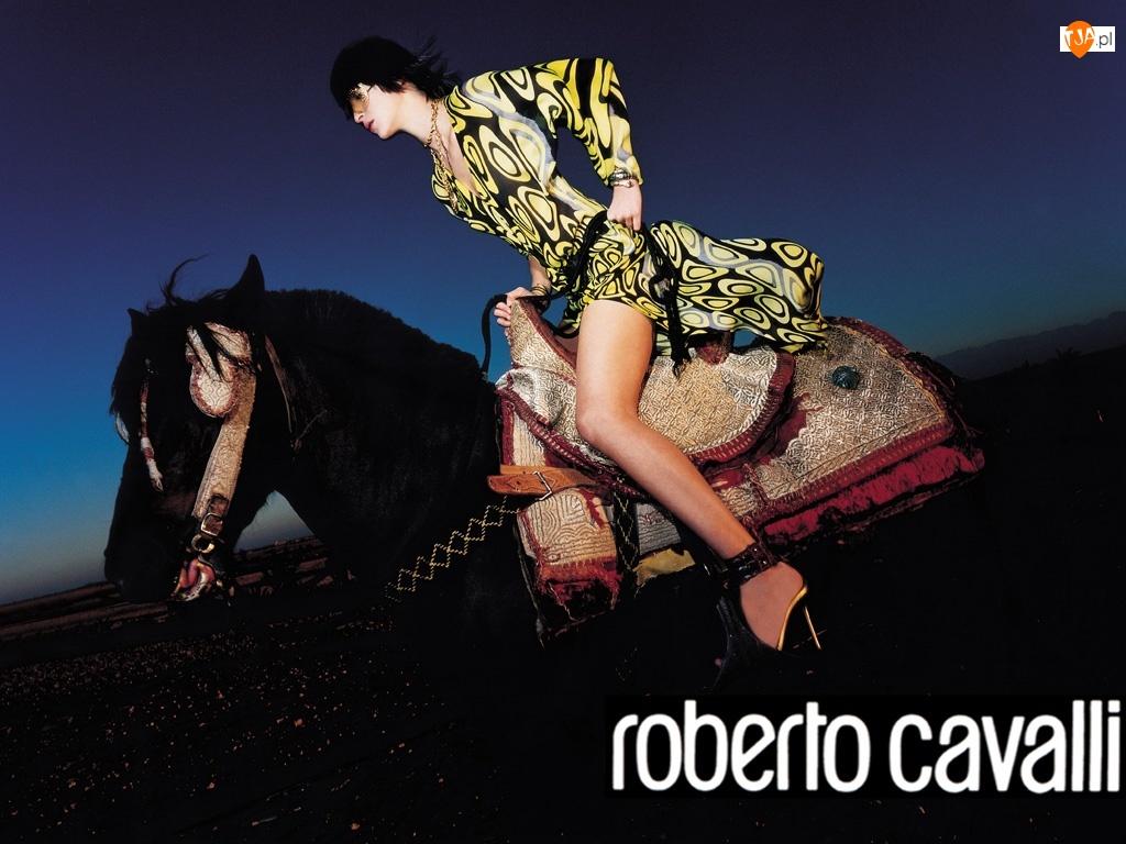 Roberto Cavalli, sukienka, kobieta, koń