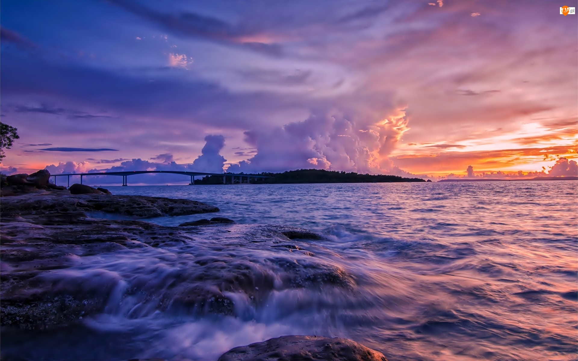 Zachód, Skały, Most, Morze, Słońca, Wyspa, Chmury