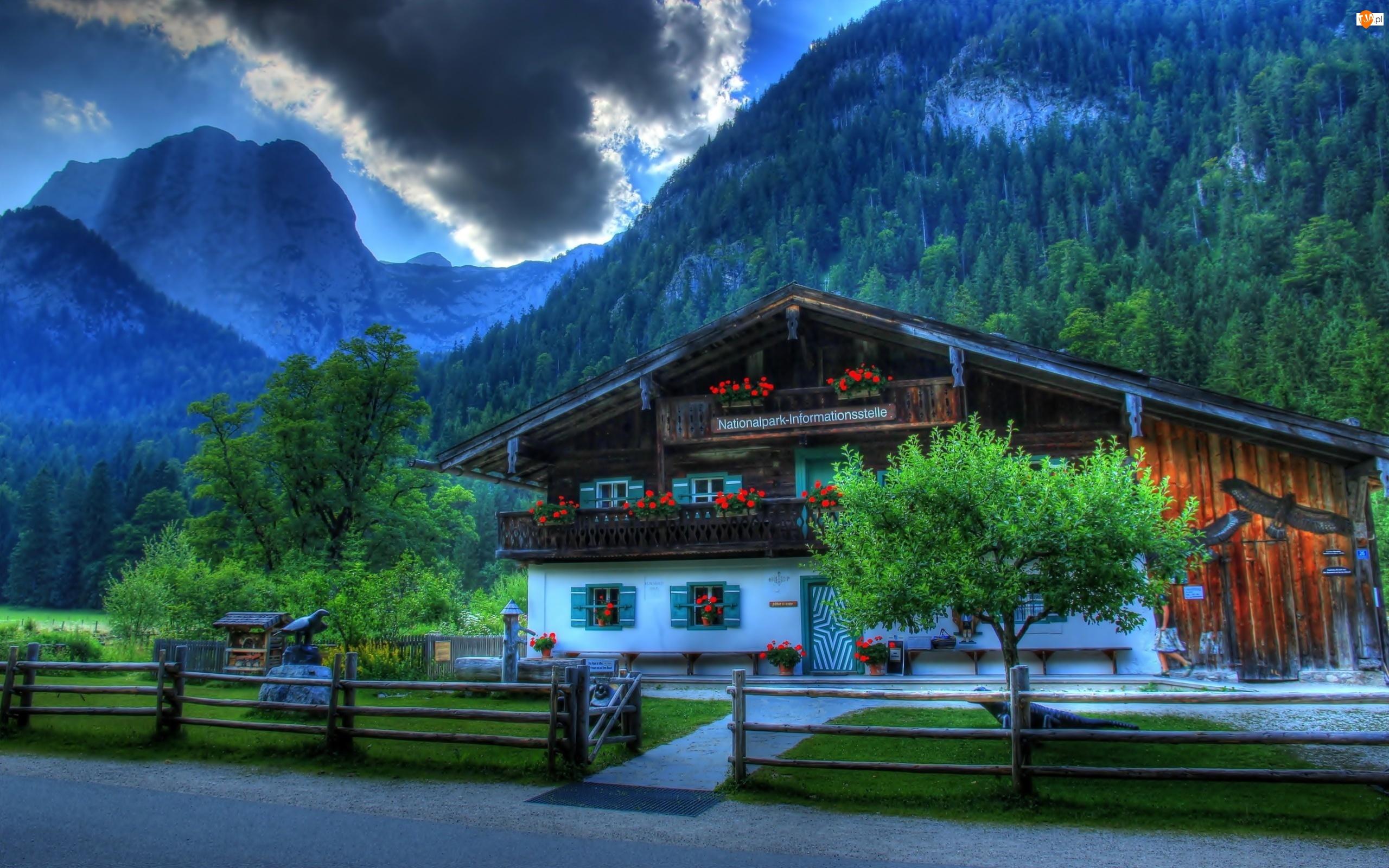 Dom, Góry, Ramsau, Bawarskie, Miejscowość, Niemcy, Bawaria, Alpy