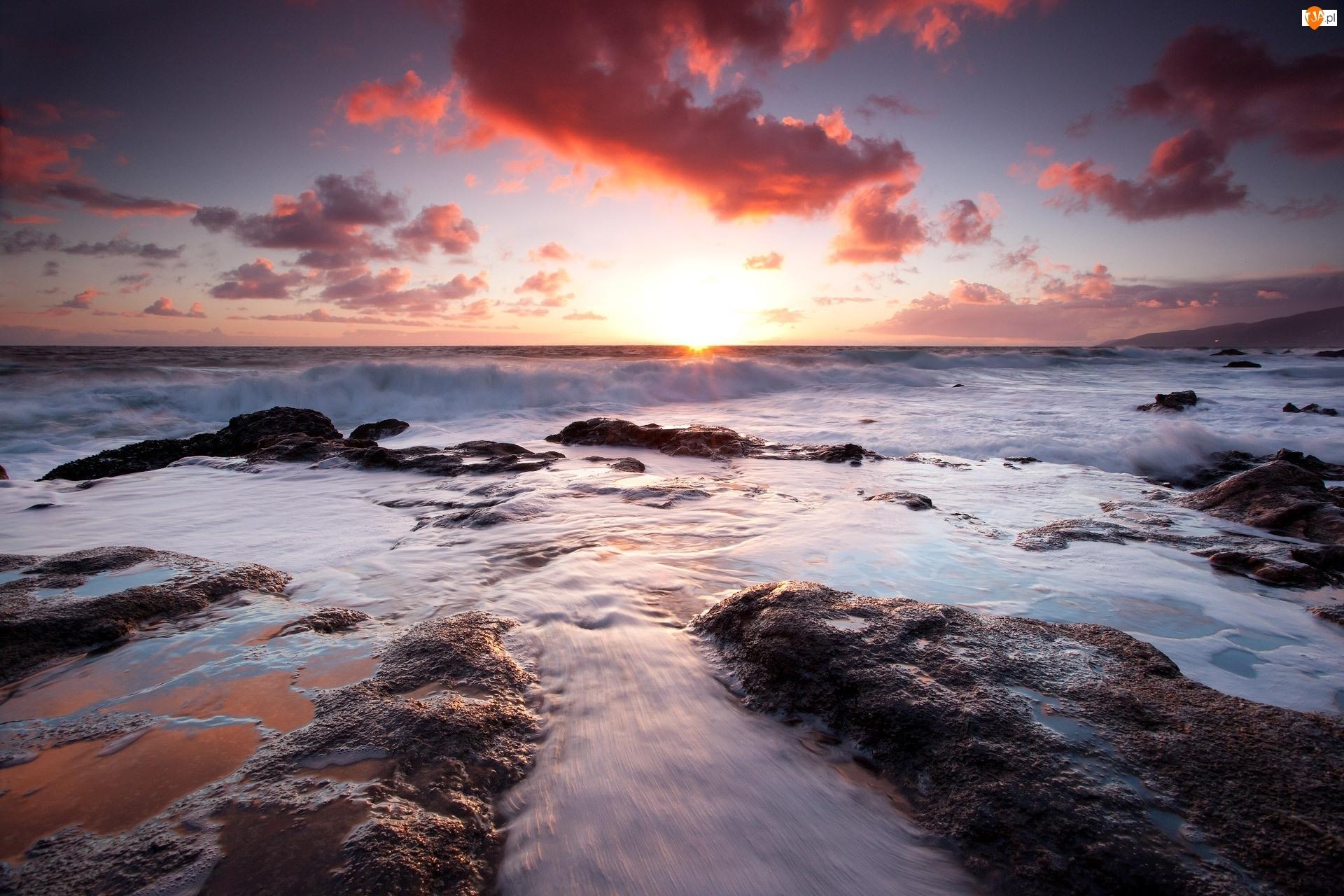 Morze, Słońca, Fale, Zachód