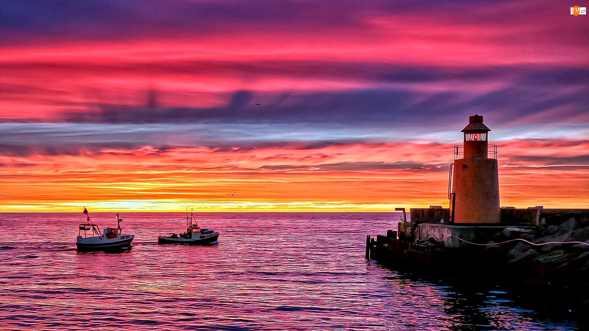 Kutry, Zachód Słońca, Latarnia, Morze, Morska