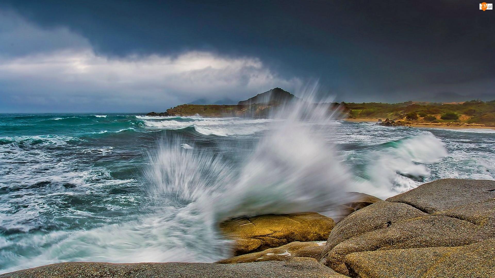 Woda, Morze, Fale, Kamienie, Rozbryzgująca