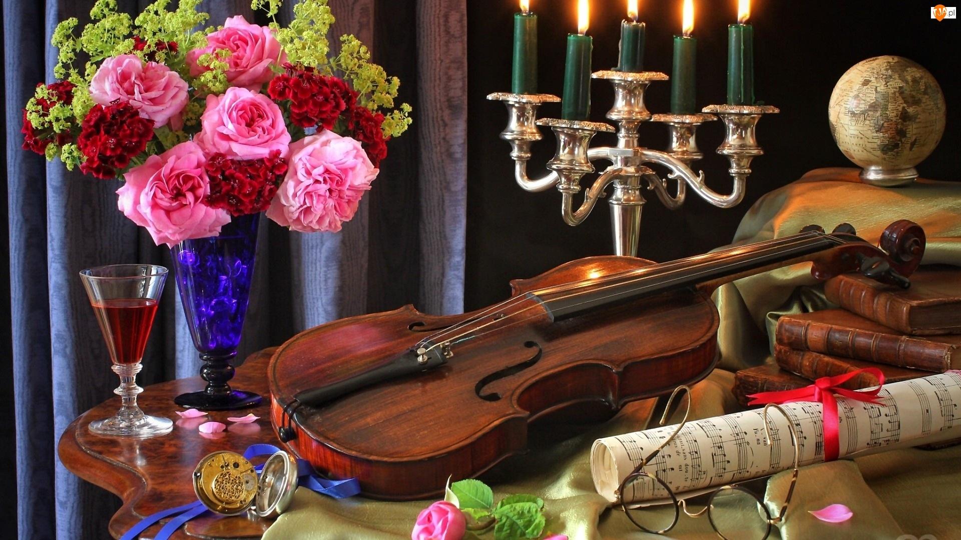 Kwiaty, Świecznik, Skrzypce, Nuty, Bukiet, Róże