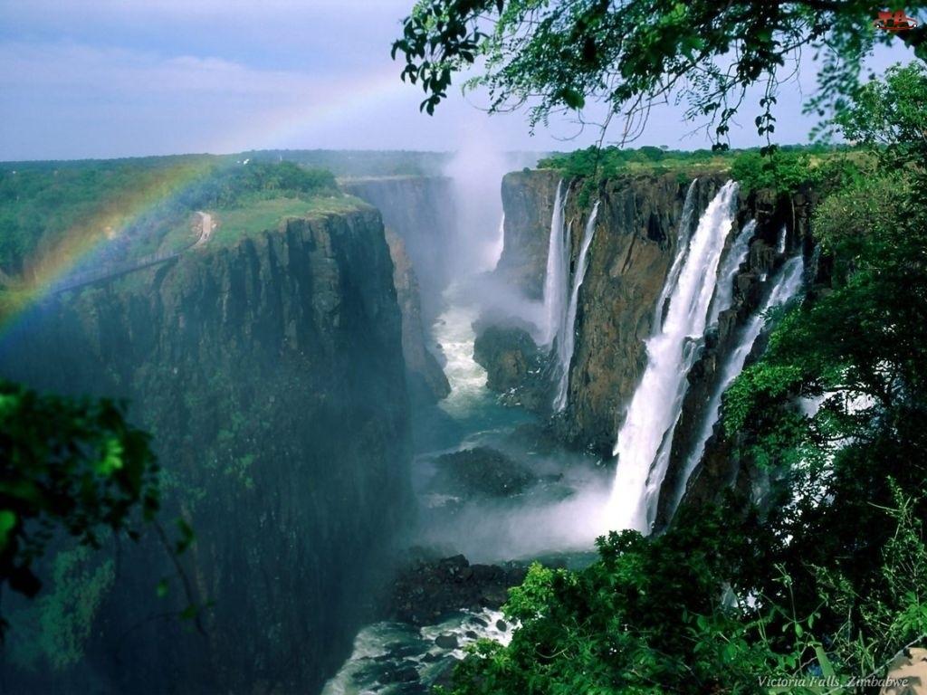 Tęcza, Republika Zambii, Kanion, Wodospadu