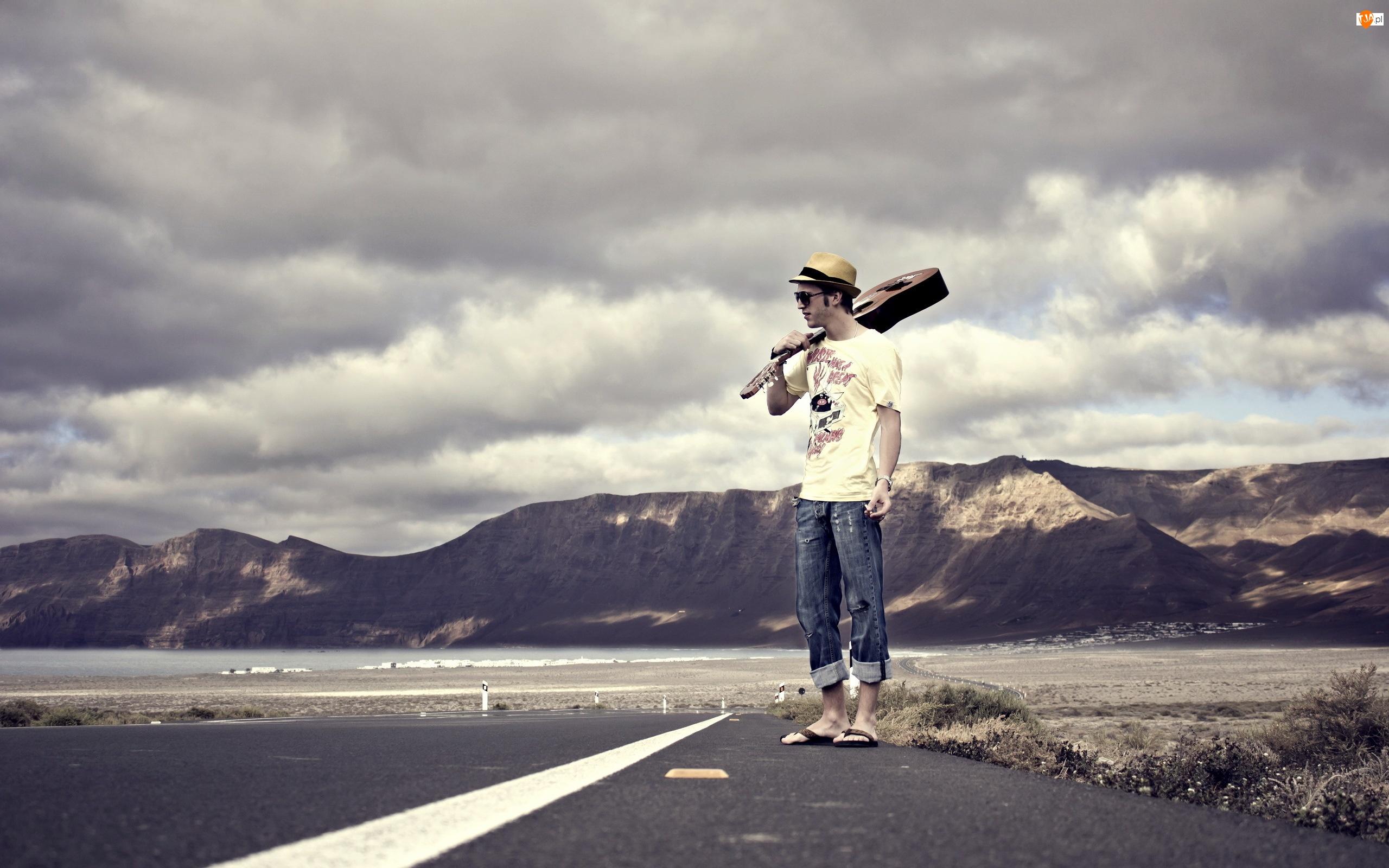 Droga, Kapelusz, Mężczyzna, Gitara