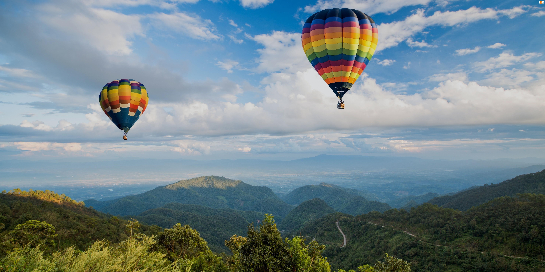 Krajobraz, Balony, Góry, Niebo