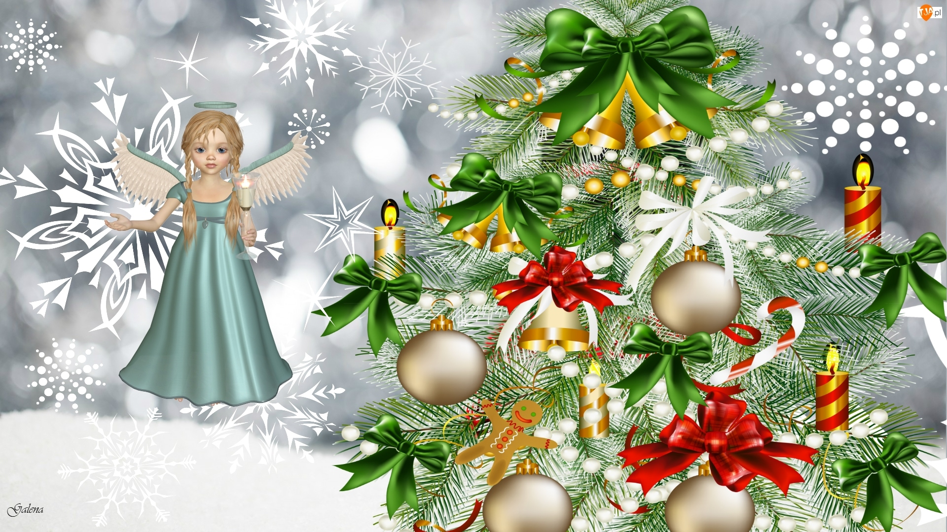 Anioł, Grafika 2D, Choinka, Boże Narodzenie