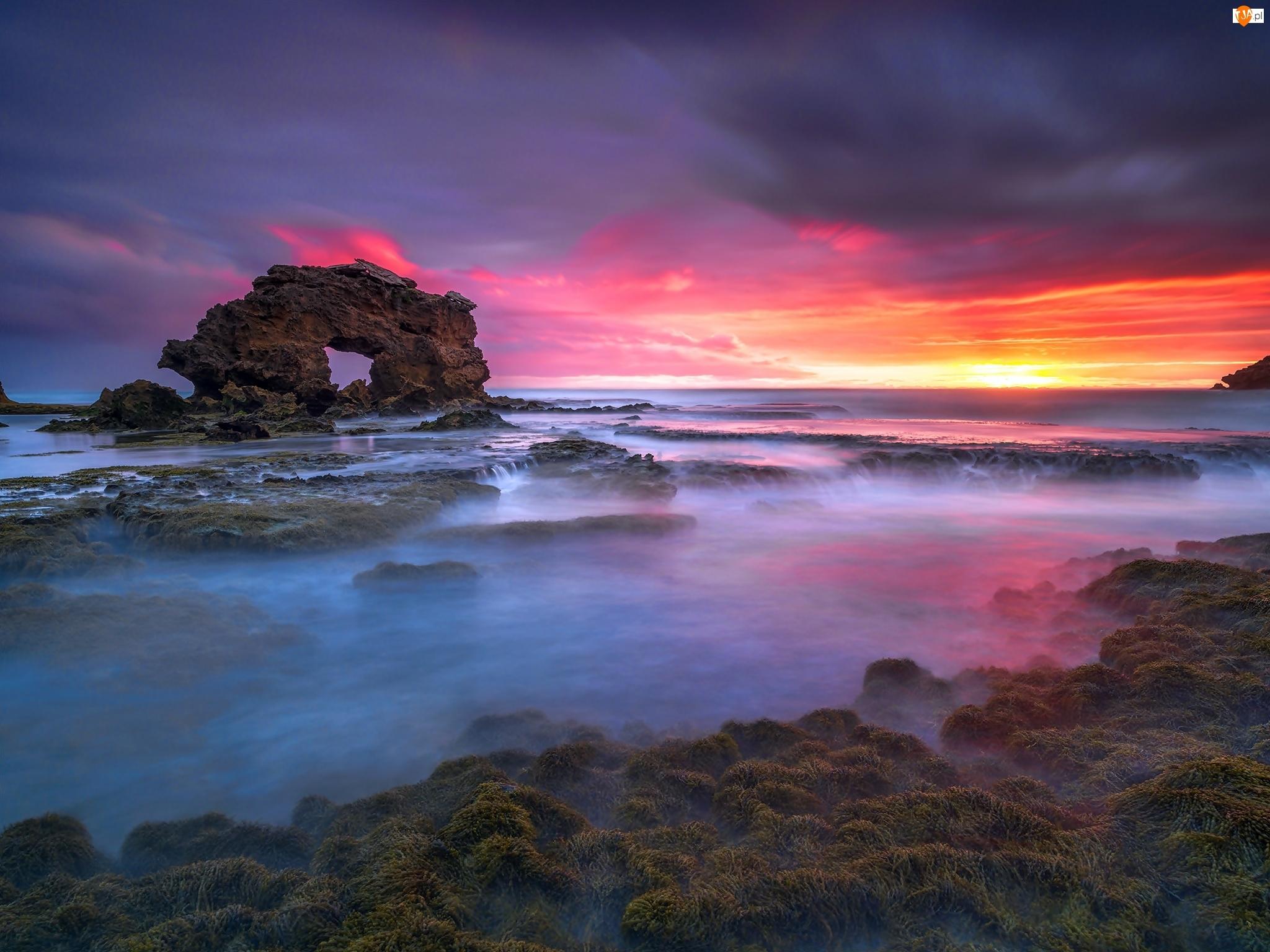 Skała, Zachód Słońca, Morze