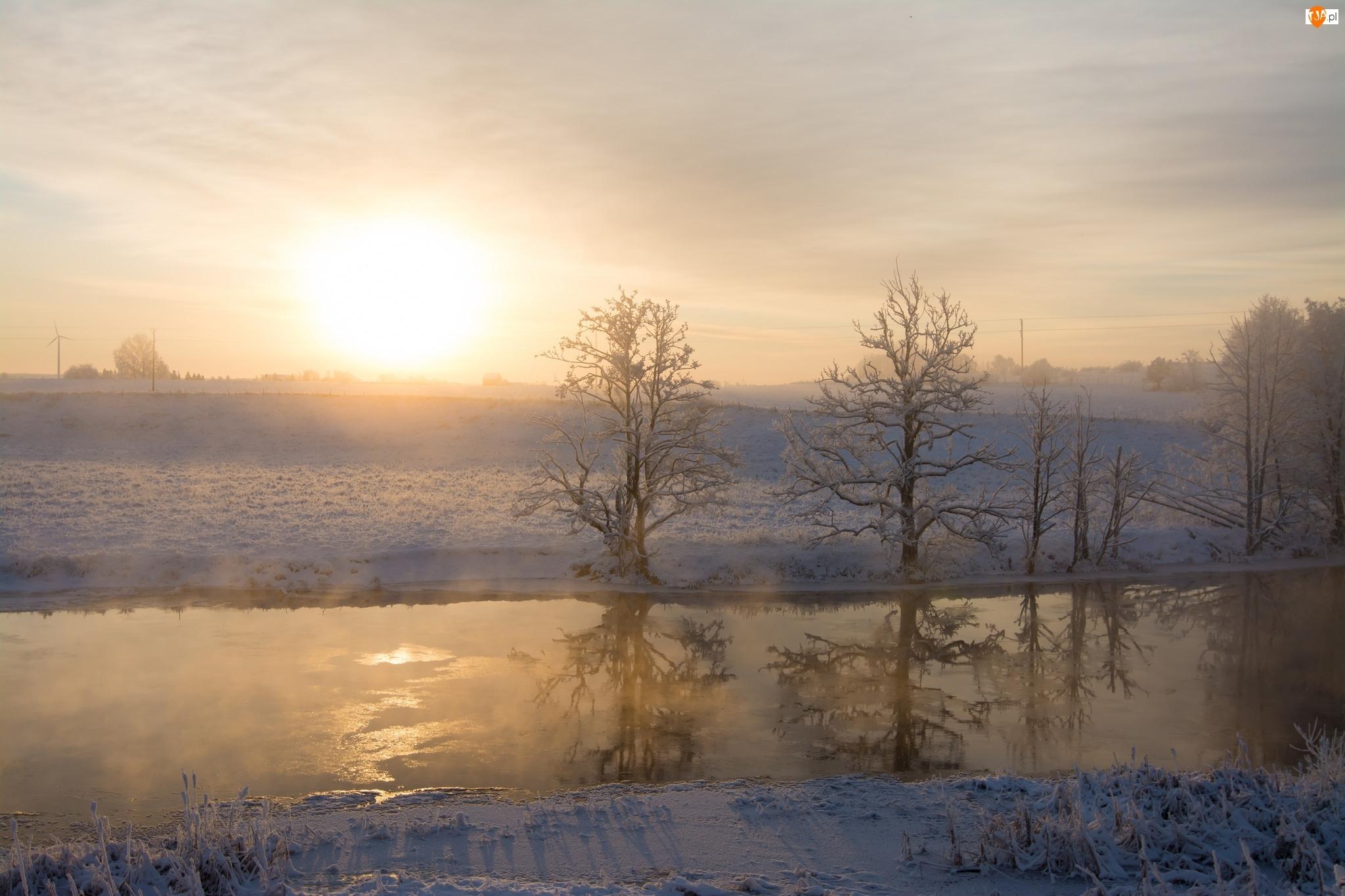 Mgła, Zima, Wschód słońca, Rzeka, Drzewa