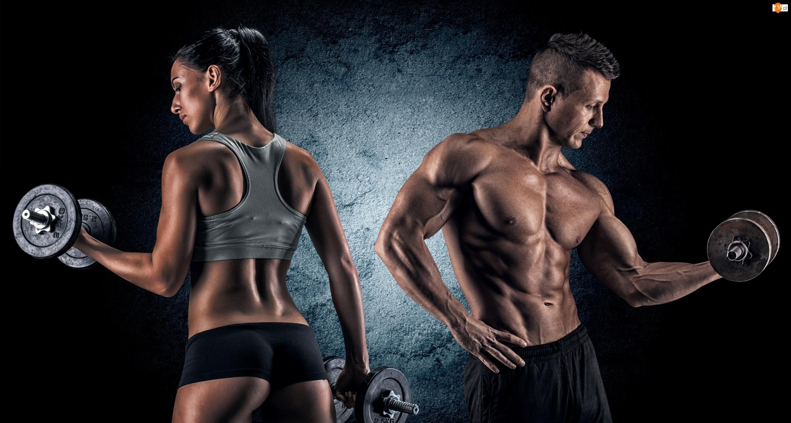 Trening, Kobieta, Kulturystyka, Mężczyzna, Ciężarki