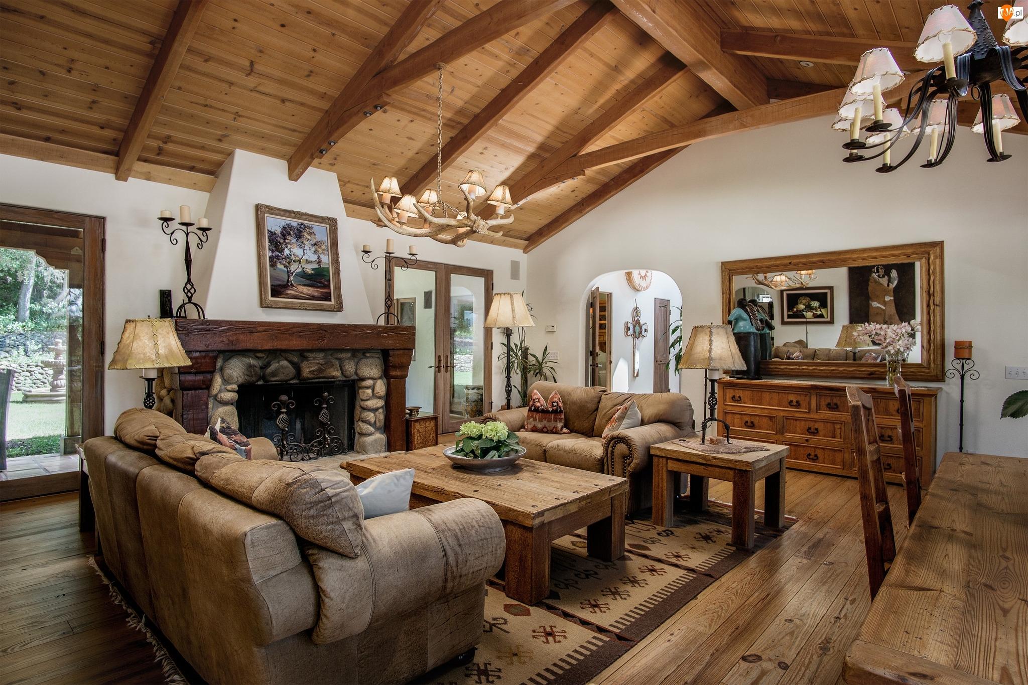 Sufit, Wnętrze, Kominek, Salon, Drewniany