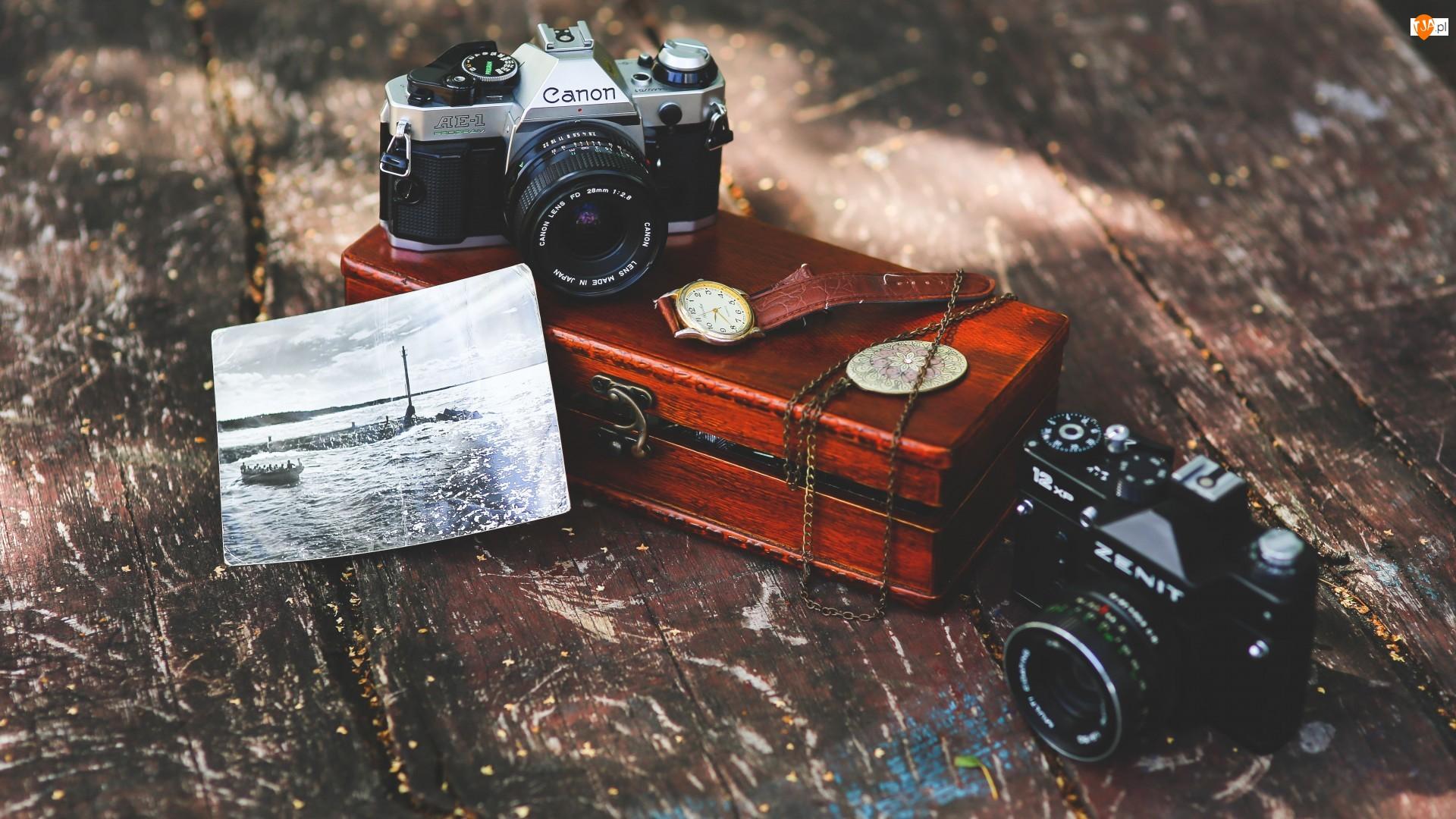 Szkatułka, Kompozycja, Canon, Aparaty fotograficzne, Zenit