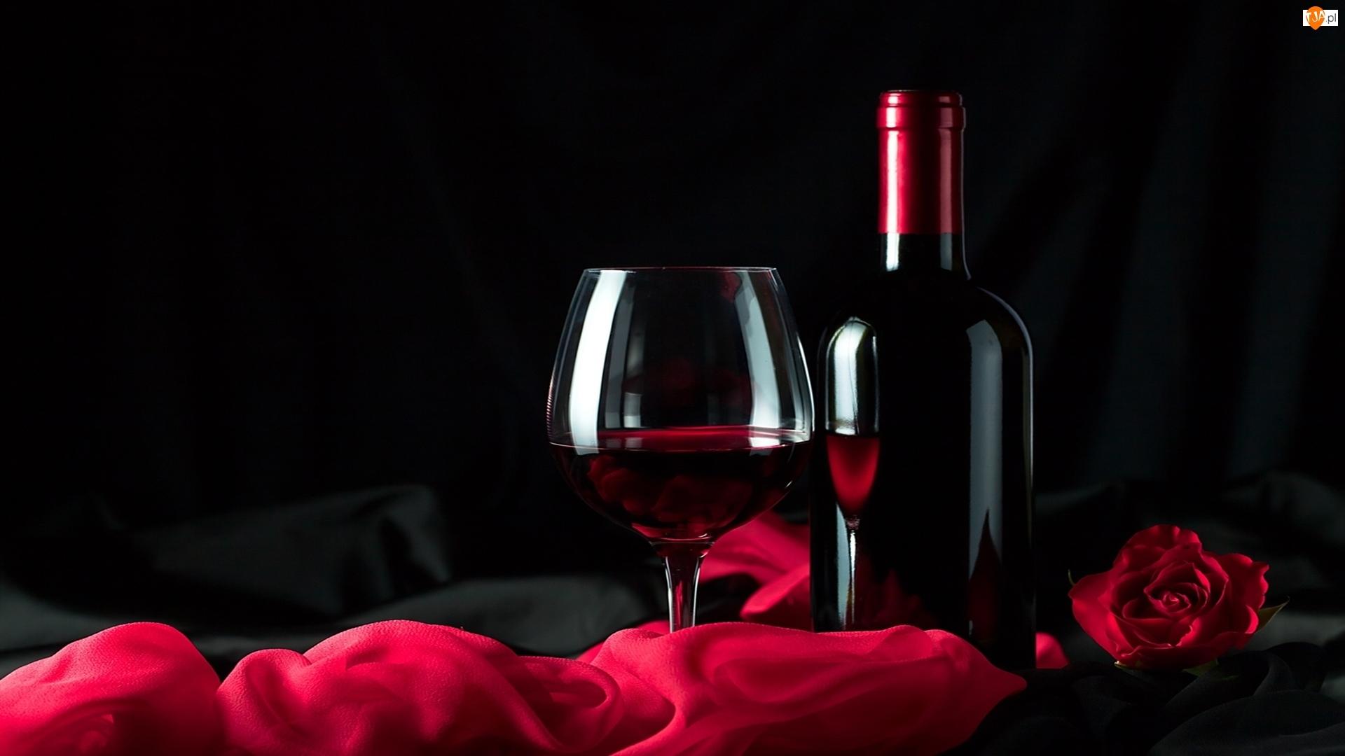Róża, Kompozycja, Butelka, Wino, Kieliszek