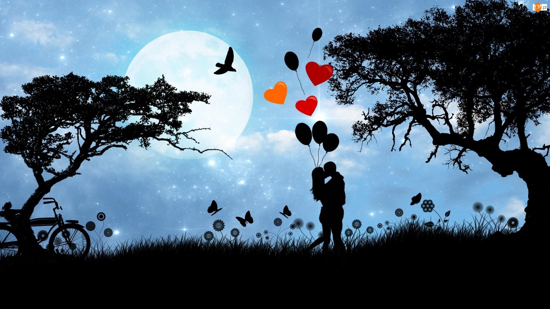 Balony, Drzewa, Zakochani, Księżyc, Serca, Miłość