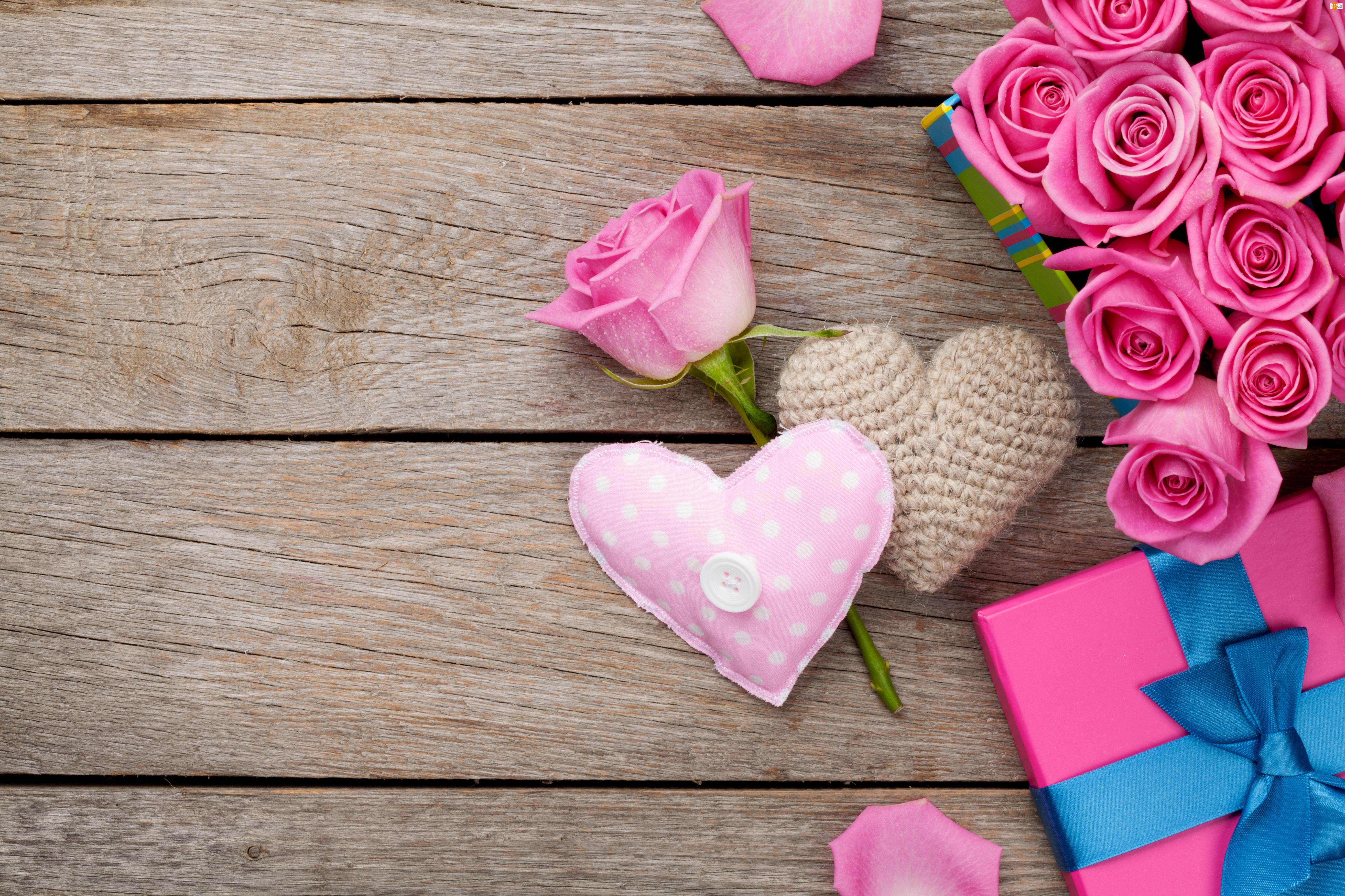 Walentynki, Kompozycja, Róże, Serca