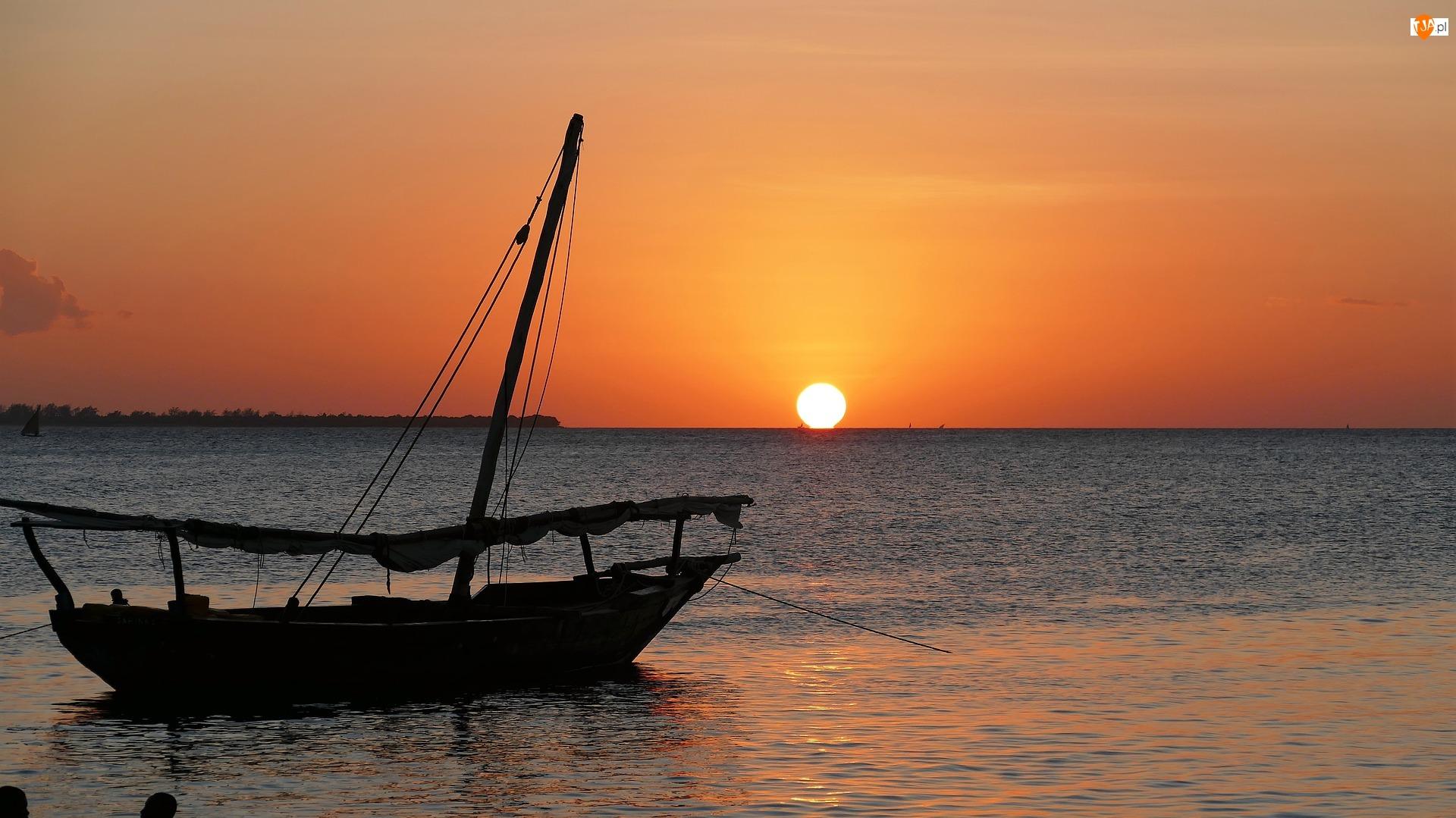 Zachód słońca, Morze, Żaglówka