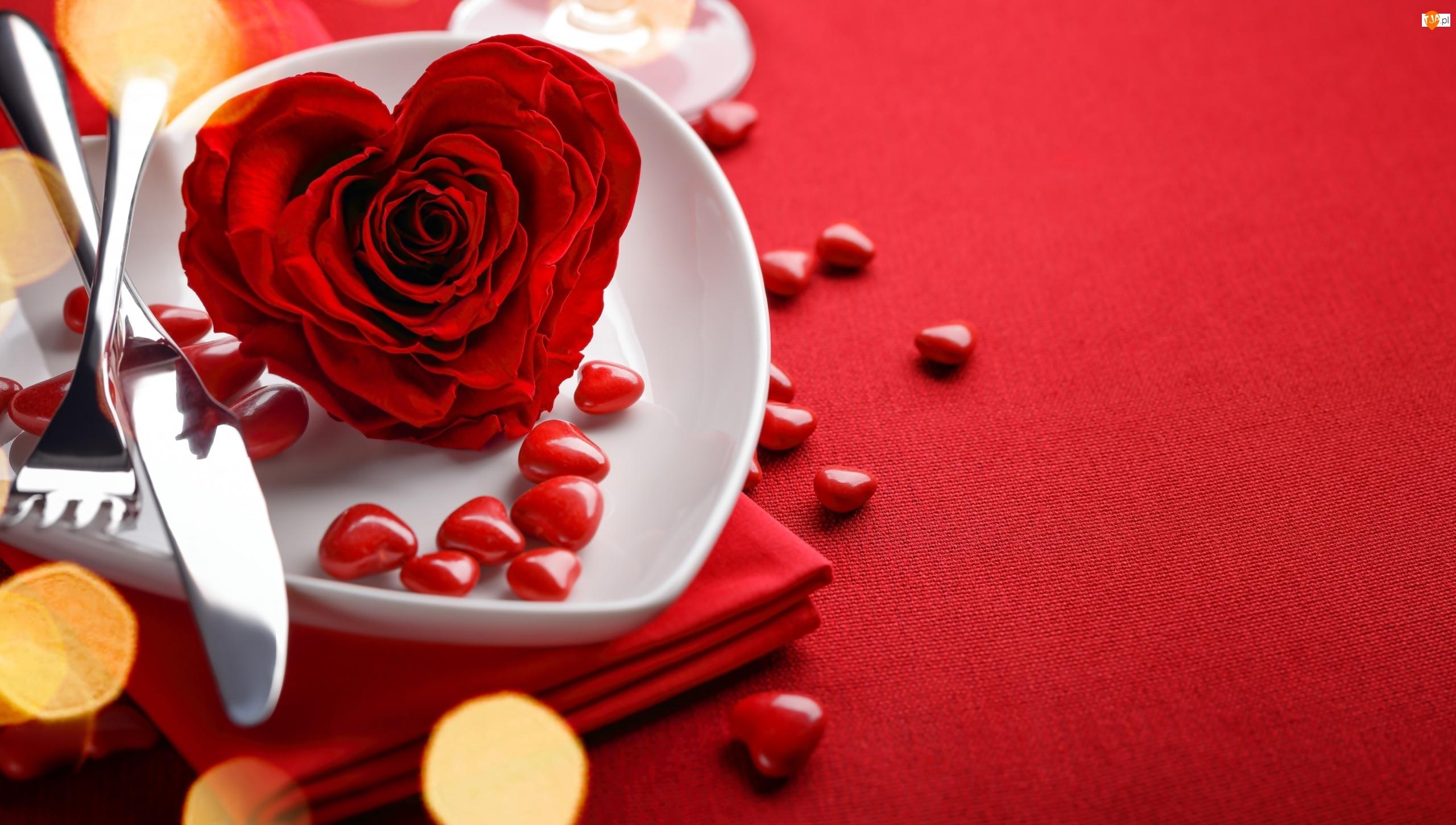 Walentynki, Czerwona, Talerzyk, Róża, Serduszka