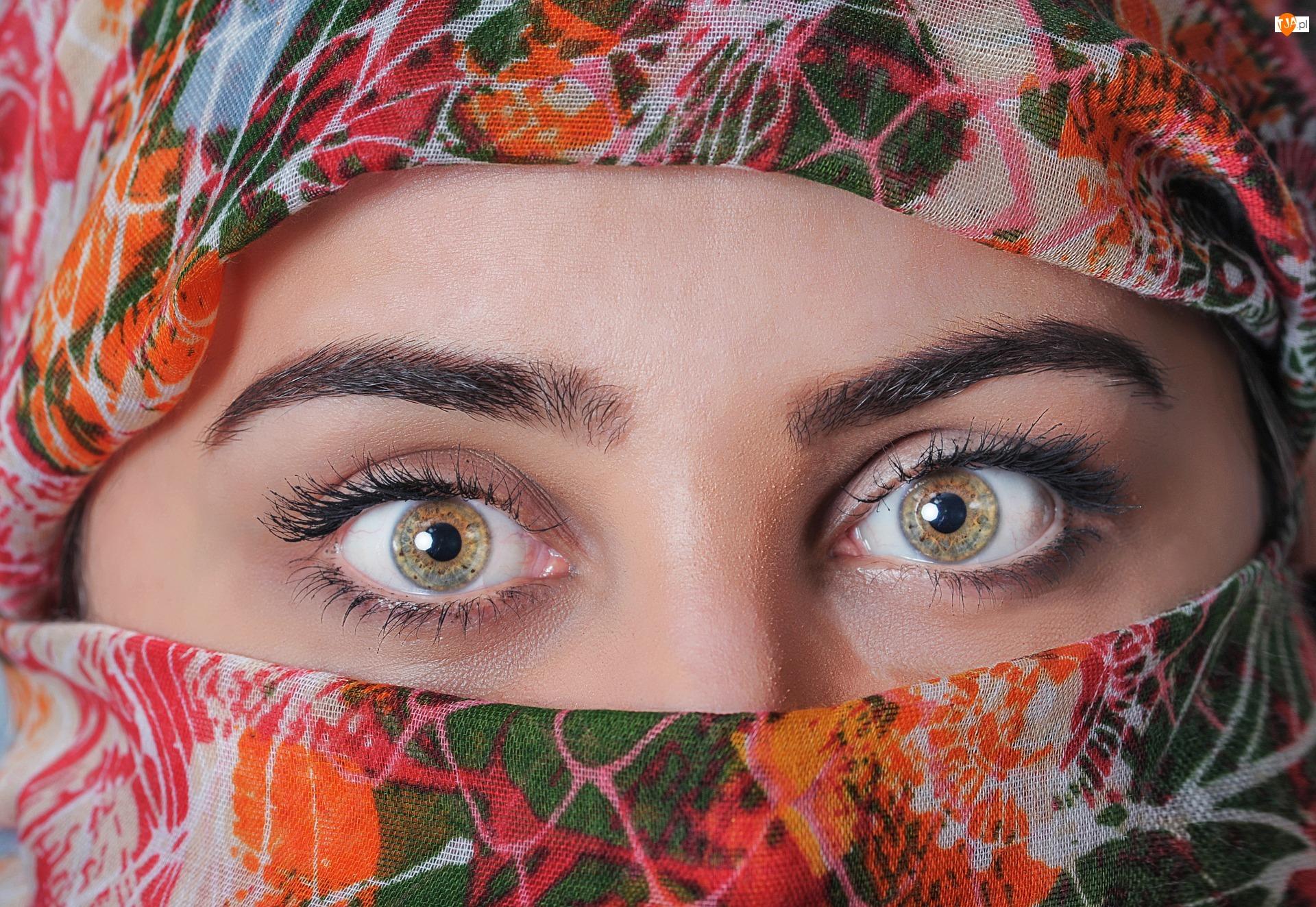 Kobieta, Twarz, Oczy, Zasłonięta