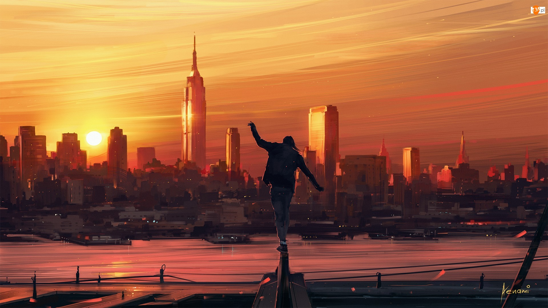 Zdjęcia miasta, Chłopak, Wieżowce, Zachód słońca