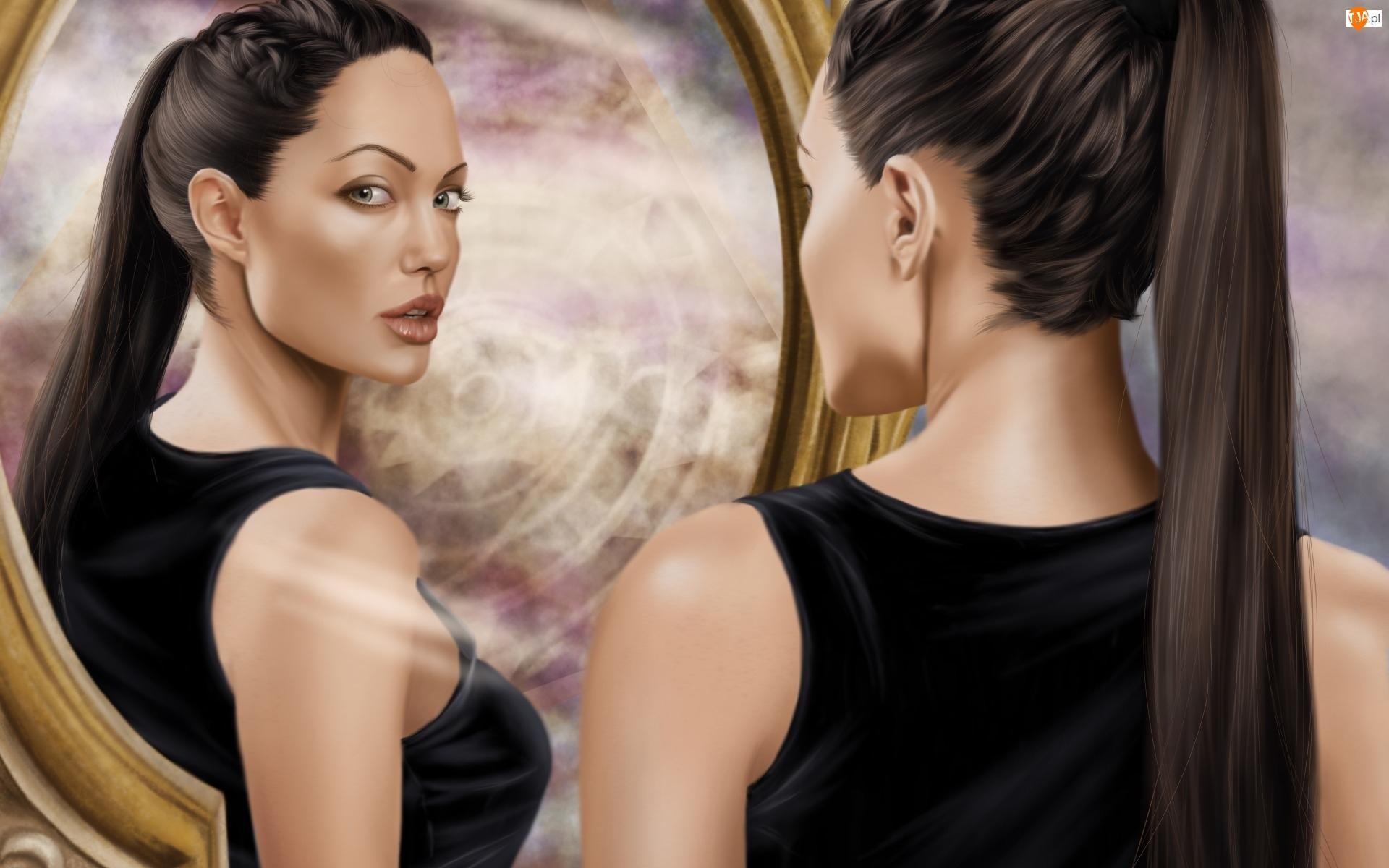Lara Croft  , Angelina Jolie, Twarz, Lustro, Tomb Raider