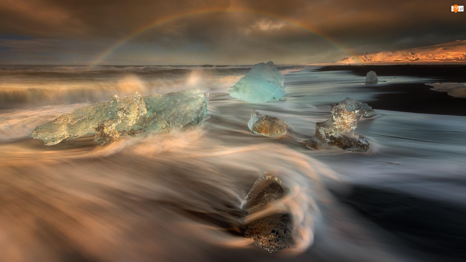 Tęcza, Islandia, Bryły, Morze, Lód