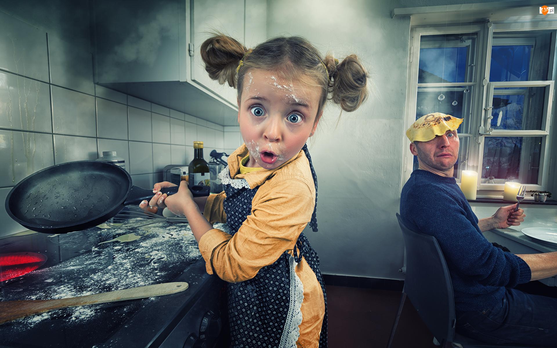 Patelnia, Kuchnia, Dziewczynka, Śmieszne, Mężczyzna, Naleśniki