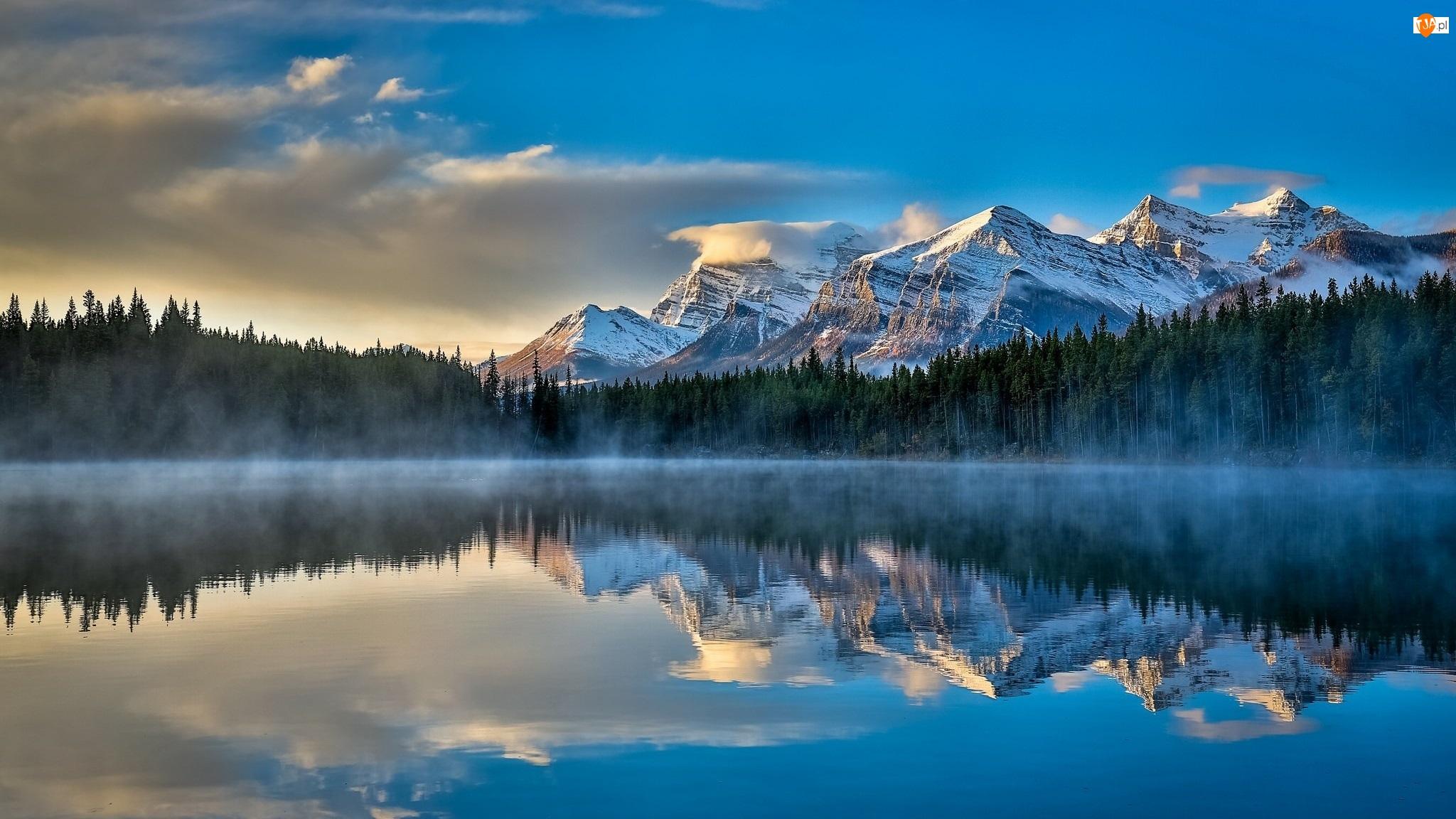 Mgła, Las, Park Narodowy Banff, Kanada, Odbicie, Jezioro Herbert, Góry